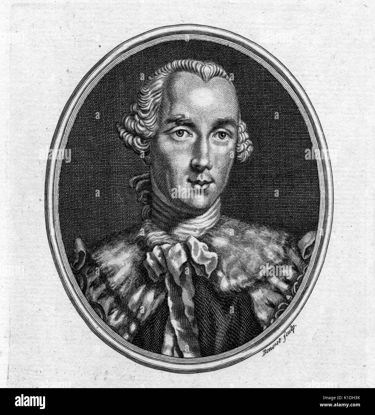 John Stuart, 3rd Earl of Bute, a former Prime Minister of Great Britian, 1750. From the New York Public Library. - Stock Image