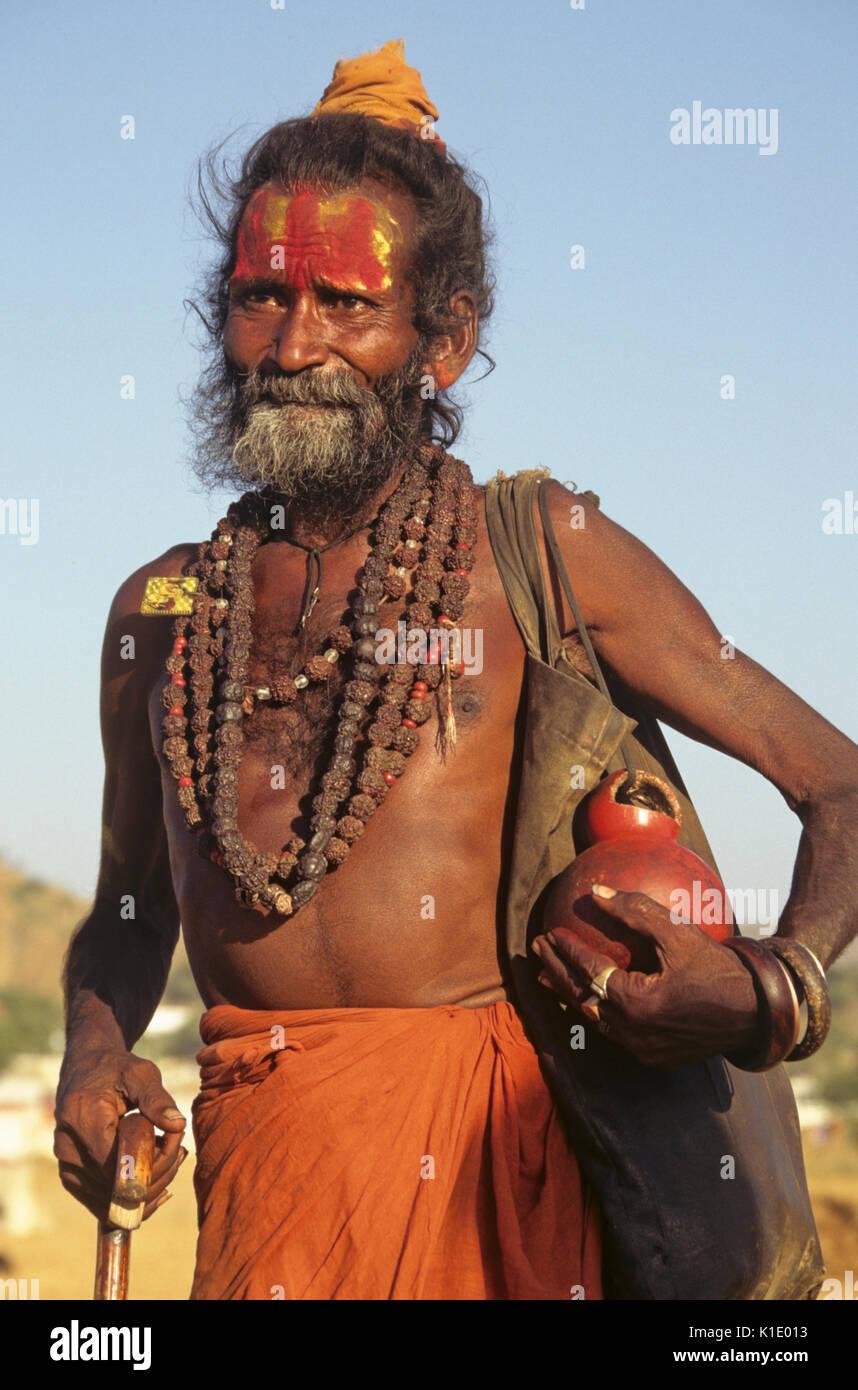 Sadhu (Hindu holy man), Pushkar Camel & Cattle Fair, Rajasthan, India - Stock Image
