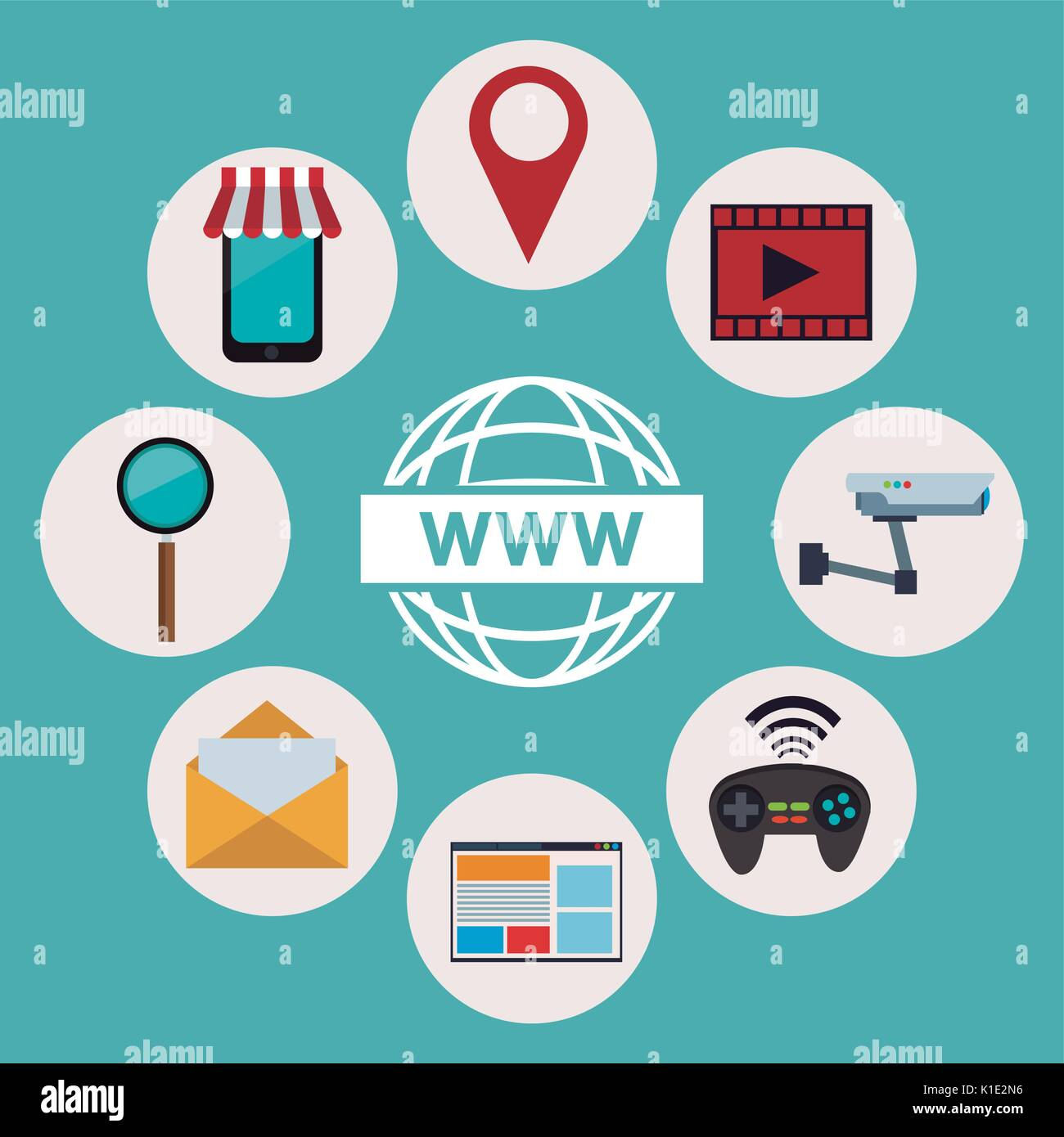 color background of logo world wide web with icons elements technology wireless - Stock Image