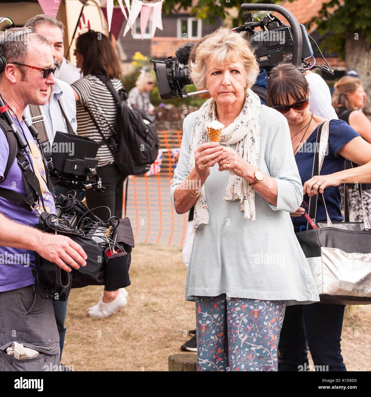 Walberswick, Suffolk, England, Uk. 26th August 2017. Penelope Keith filming at Walberswick village fete. Tim Oram/Alamy Live News - Stock Image