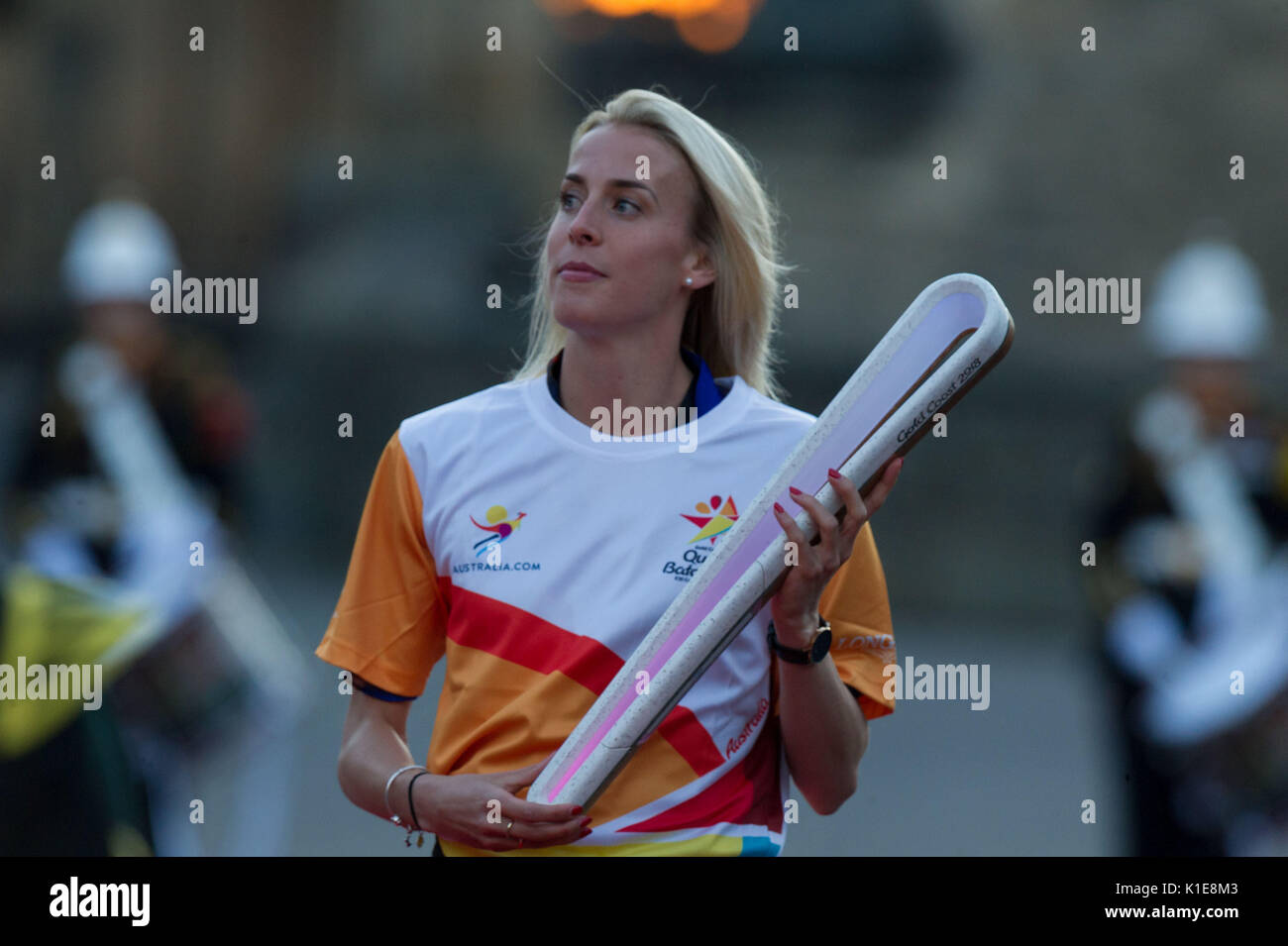Edinburgh, UK. 26th Aug, 2017. Edinburgh UK Aug 26 2017; The Royal Edinburgh Military Tattoo welcomes Team Scotland stars Hannah Miley and Lynsey Sharp as they participate in the official handover of the Queens Baton Relay in Scotland. This is also the final night of the Tattoo. Credit: Steven Scott Taylor/Alamy Live News - Stock Image