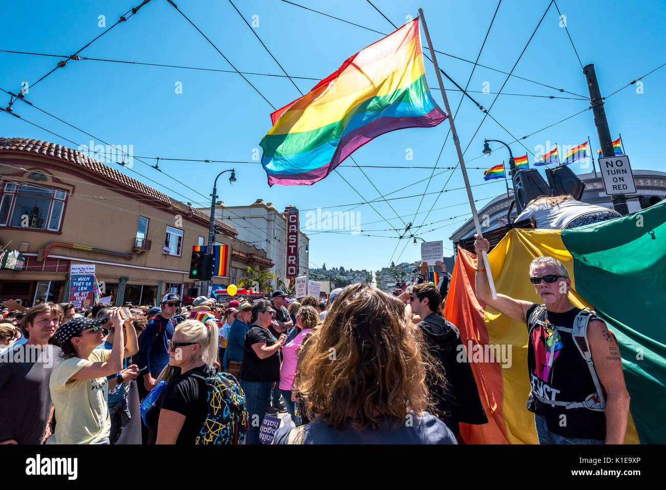 San Francisco, USA. 26th August, 2017, the No Hate rally and protest march in San Francisco. The group gathered at Harvey Milk Plaza in San Francisco's Castro district for a rally before marching down Market Street to San Francisco City Hall. Originally planned as one of several counter protests to a previously planned demonstration by right wing group 'Patriot Prayer,' the counter protests in San Francisco still saw large turnouts in a show of support though the Patriot Prayer event was canceled the evening prior. Credit: Shelly Rivoli/Alamy Live News - Stock Image