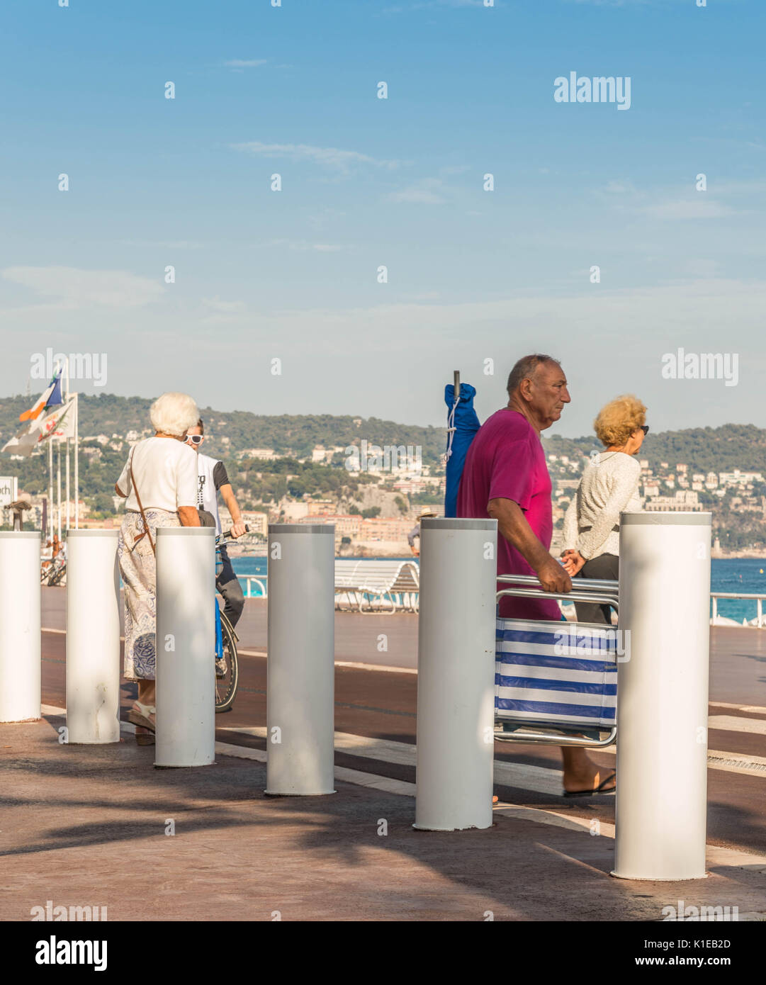 Nice, France. 26th August, 2017. Following the devastating terrorist attack in Nice on July 14, 2016, security forces have set up security barriers along the Promenade des Anglais Credit: Alexandre Rotenberg/Alamy Live News - Stock Image