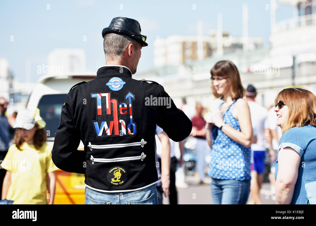 Brighton, UK. 27th Aug, 2017. PJ from Cirencester joined the hundreds of Mods taking part in the Brighton Mod Weekender event over the bank holiday weekend in beautiful hot sunny weather . Mods have tarditionally visited Brighton for the August Bank Holiday since the 1960s when there quite often used to be trouble on the seafront with battles between themselves and rockers Credit: Simon Dack/Alamy Live News - Stock Image