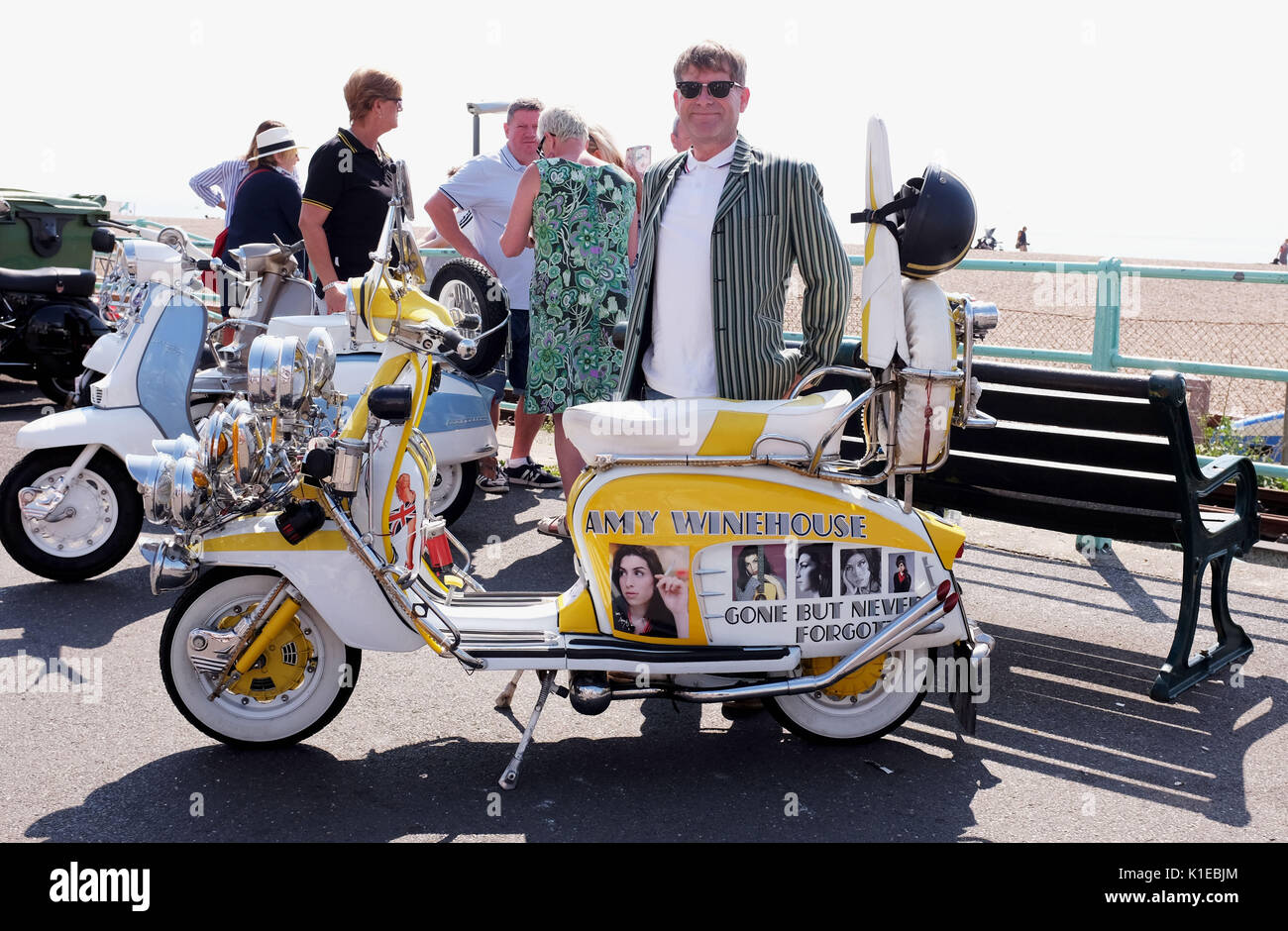Brighton, UK. 27th Aug, 2017. Gerry Churchill with his Amy Winehouse scooter joined the hundreds of Mods taking part in the Brighton Mod Weekender event over the bank holiday weekend in beautiful hot sunny weather . Mods have tarditionally visited Brighton for the August Bank Holiday since the 1960s when there quite often used to be trouble on the seafront with battles between themselves and rockers Credit: Simon Dack/Alamy Live News - Stock Image