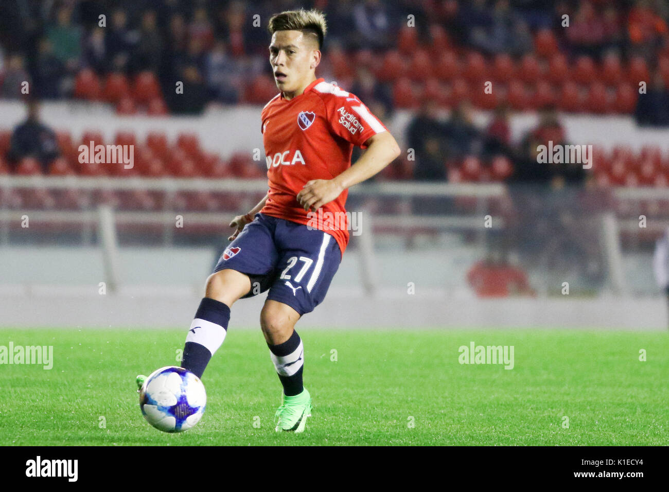 Buenos Aires, Argentina. 26th August, 2017. Ezequiel Barco of Independiente during the match between Independiente x Huracan for the 1st round of Superliga Argentina. Credit: Néstor J. Beremblum/Alamy Live News - Stock Image
