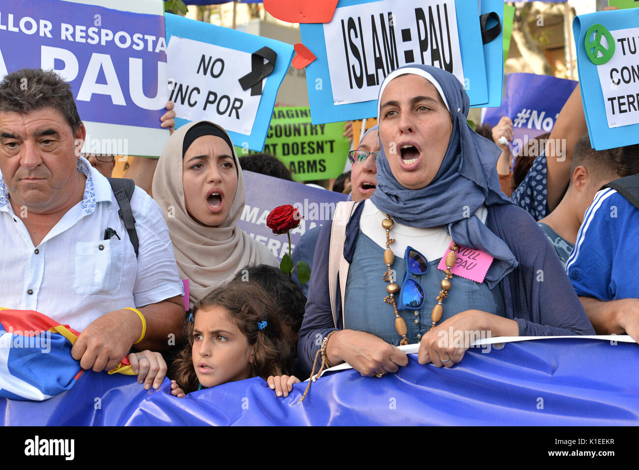 Barcelona, Spain. 26th August 2017. People protest against terrorism in a demonstration that took place in Barcelona Stock Photo
