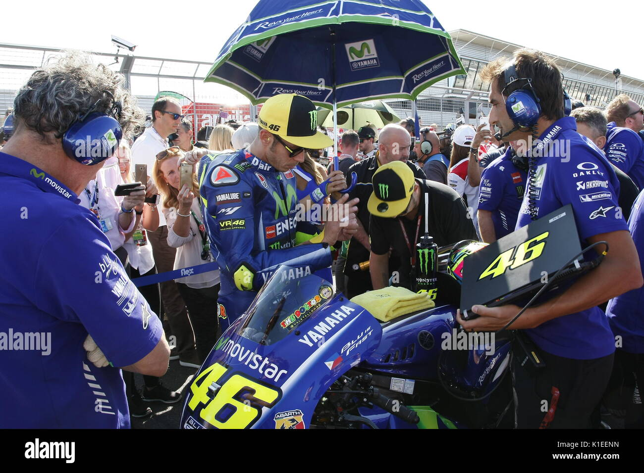 Silverstone, UK. 27th Aug, 2017.  Valentino Rossi prepares for the start of the OCTO British MotoGP with his Yamaha team. Credit: Motofoto/Alamy Live News - Stock Image