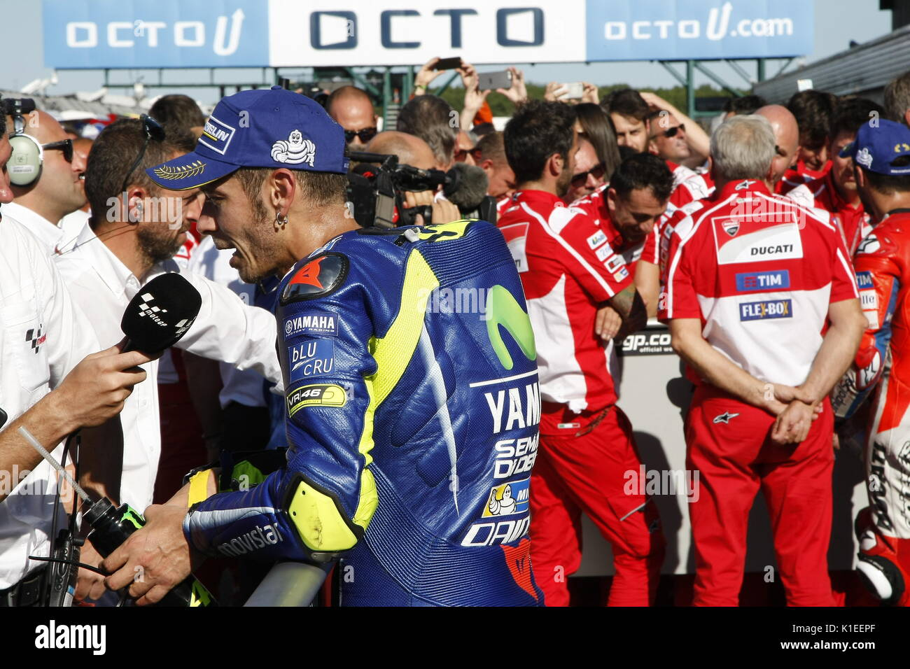 Silverstone, UK. 27th Aug, 2017.  Valentino rossi talks with TV after finishing third at the OCTO British MotoGP Credit: Motofoto/Alamy Live News - Stock Image