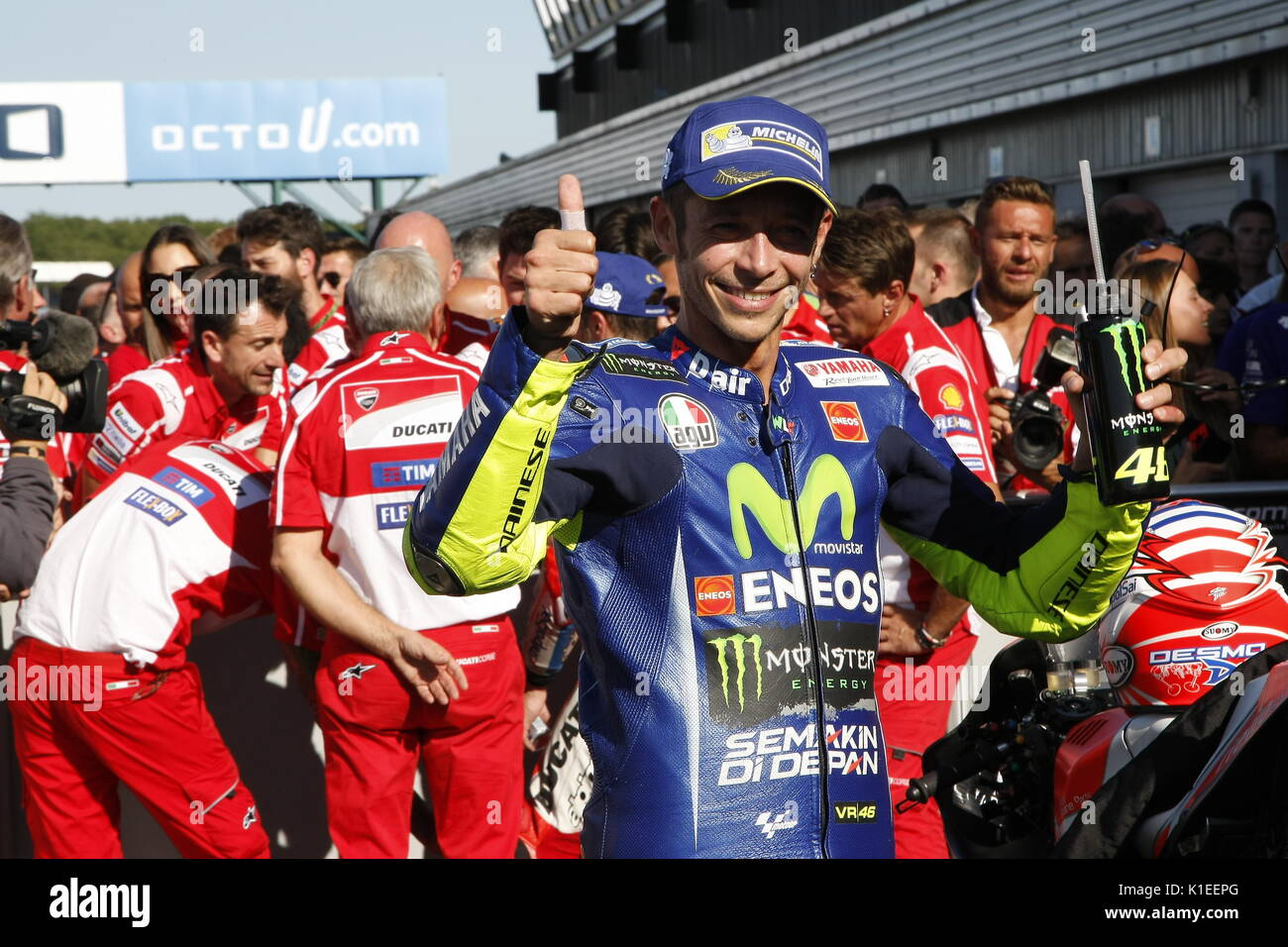 Silverstone, UK. 27th Aug, 2017.  Valentino Rossi (It) all smiles after finishing third on his Yamaha at the OCTO British MotoGP Credit: Motofoto/Alamy Live News - Stock Image
