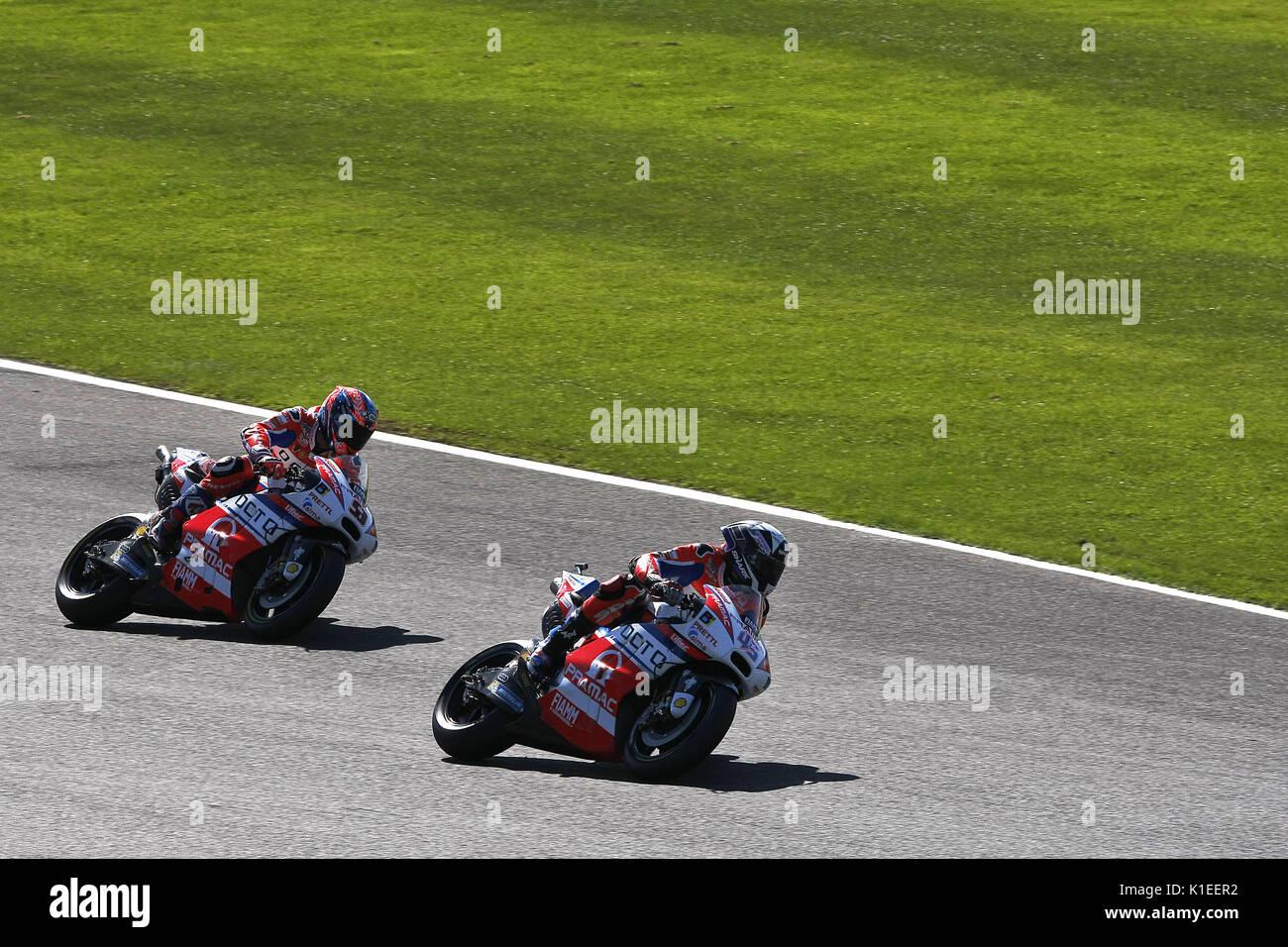 Silverstone, UK. 27th Aug, 2017.  team racing - the Prama Ducati's of Scott Redding and Danilo Petrucci during the OCTO British MotoGP Credit: Motofoto/Alamy Live News - Stock Image