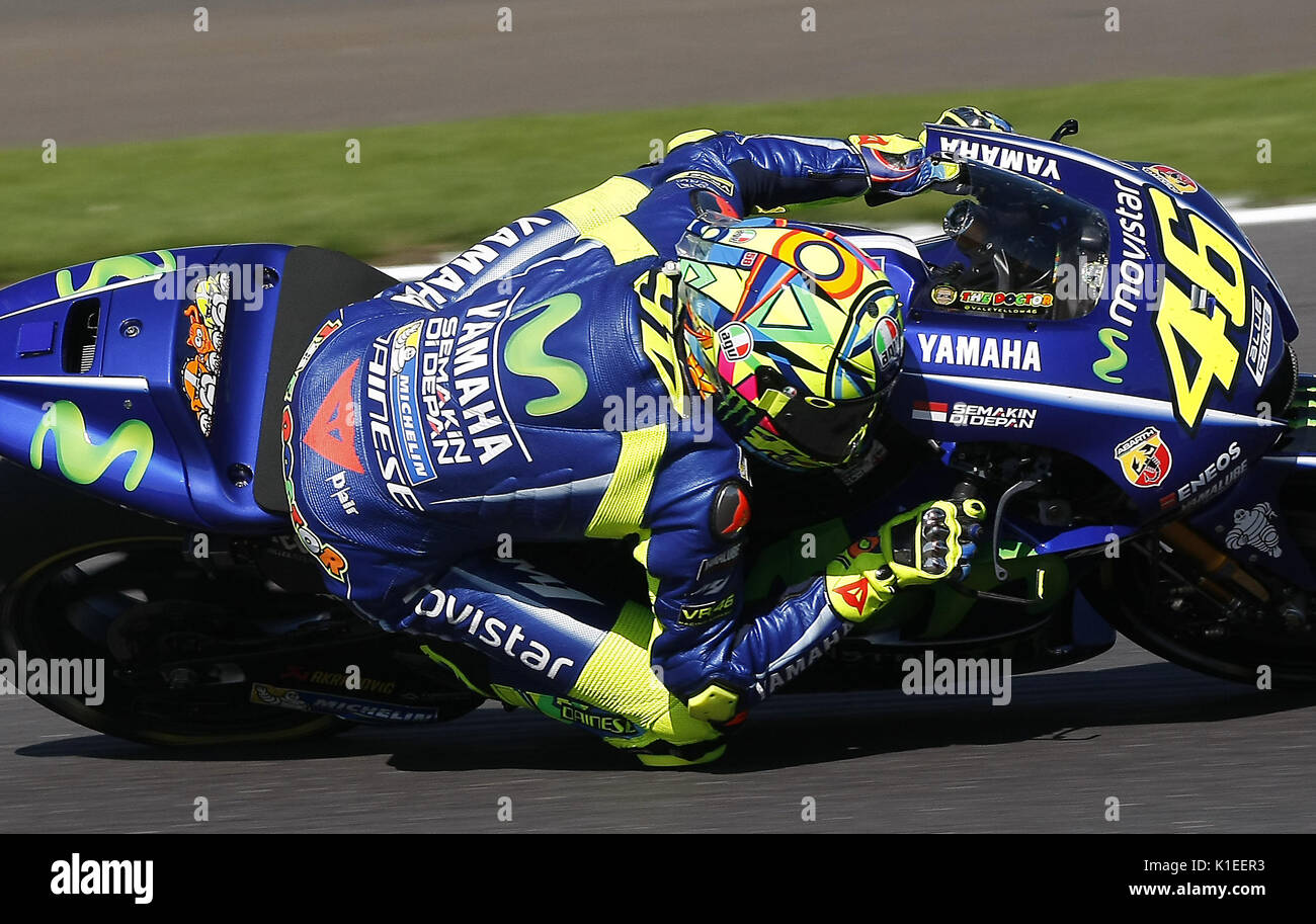 Silverstone, UK. 27th Aug, 2017.  The GOAT. Valantino Rossi in his 'Office' his Yamaha during the OCTO British MotoGP Credit: Motofoto/Alamy Live News - Stock Image