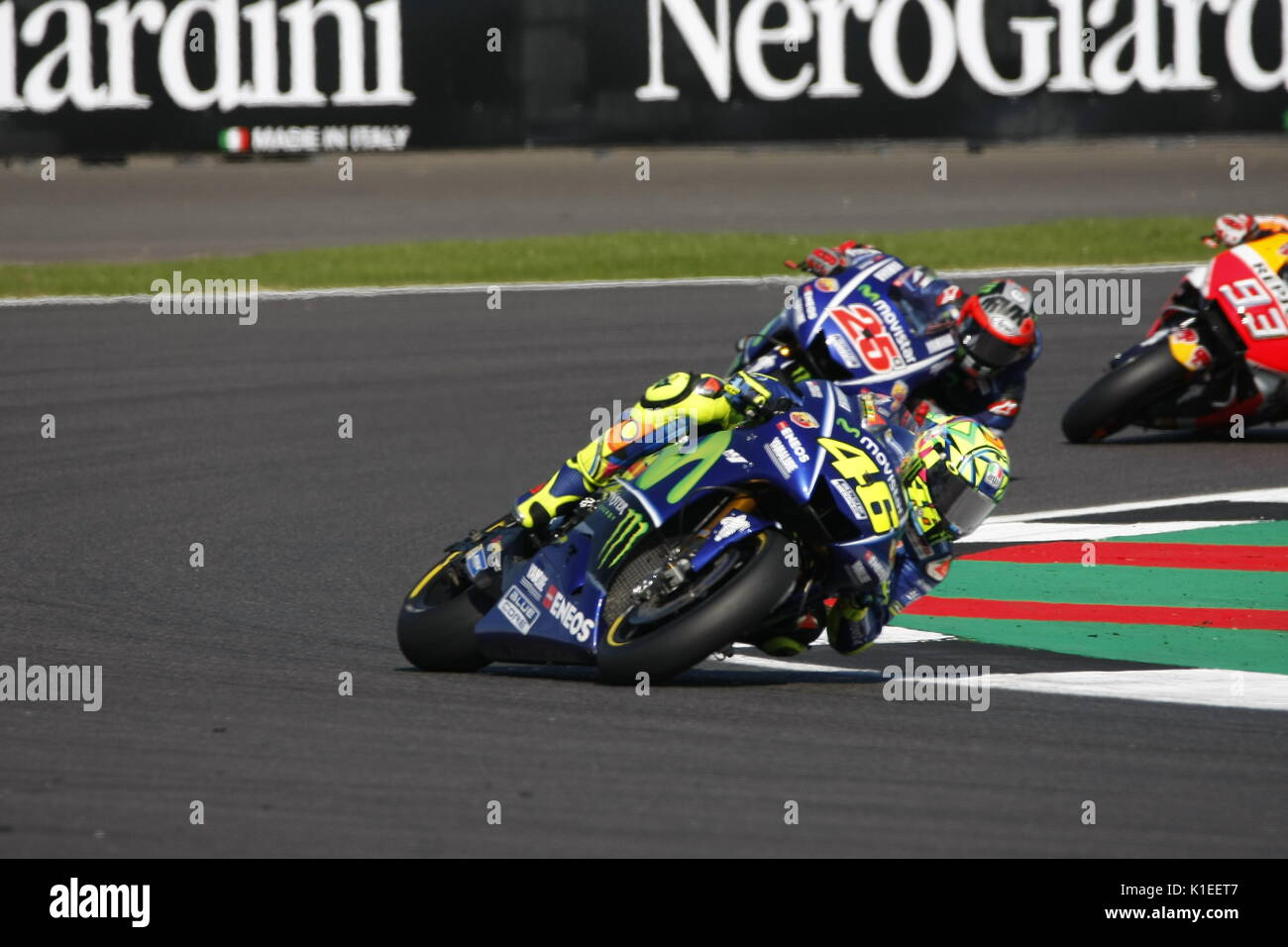 Silverstone, UK. 27th Aug, 2017.  Rossi (Yamaha) leads team-mate Vinales and Marquez (Honda) during the OCTO British MotoGP Credit: Motofoto/Alamy Live News - Stock Image