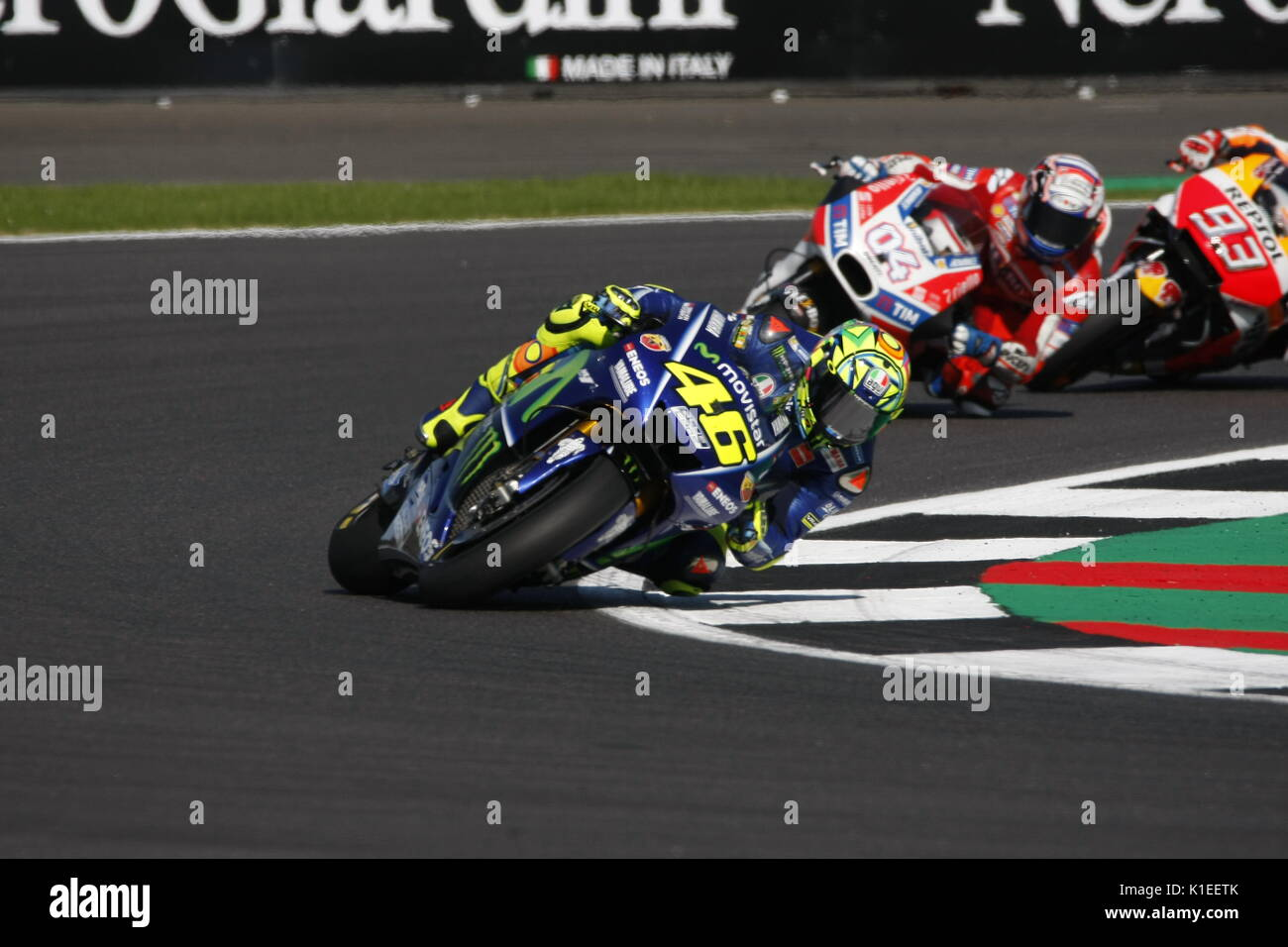 Silverstone, UK. 27th Aug, 2017.  Rossi leads winner Dovizioso (Ducati) and Marc Marquez during the OCTO British MotoGP Credit: Motofoto/Alamy Live News - Stock Image