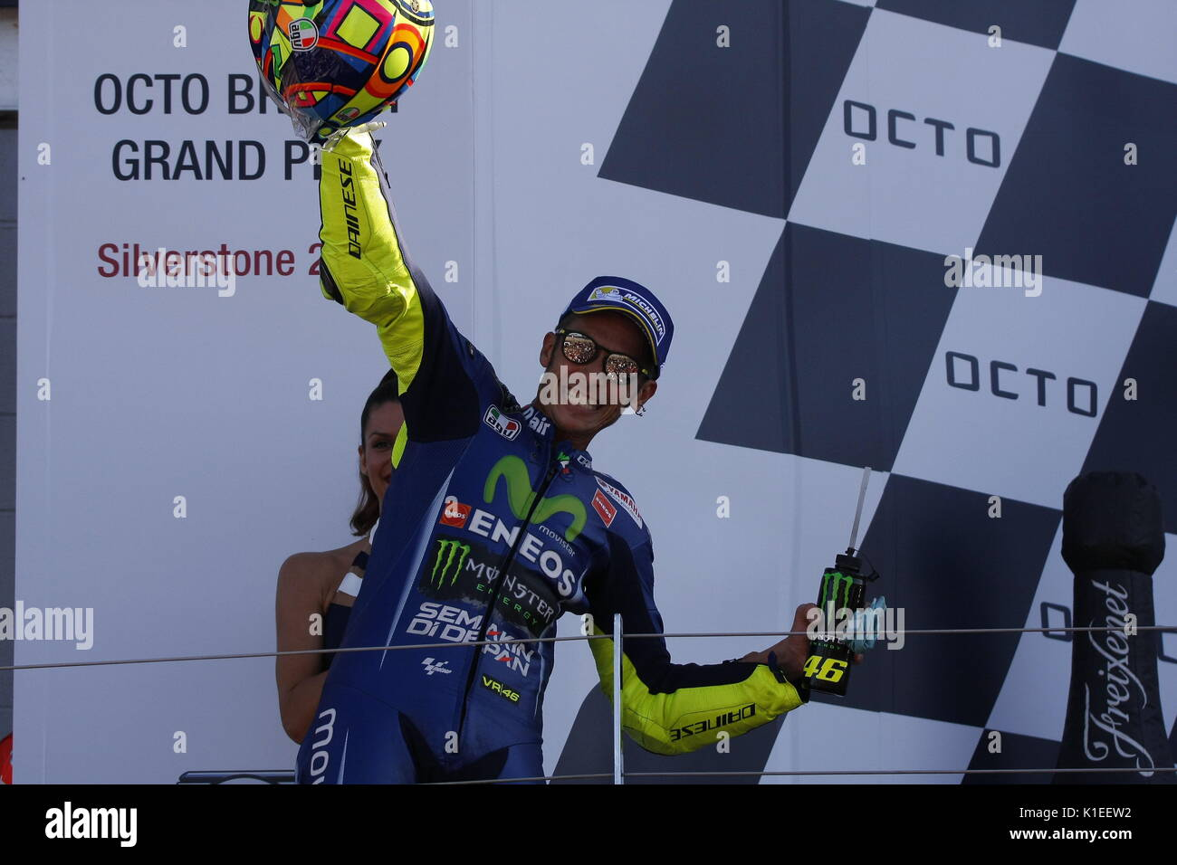 Silverstone, UK. 27th Aug, 2017.  Valentino Rossi makes coming third look like a win at the OCTO British MotoGP Credit: Motofoto/Alamy Live News - Stock Image