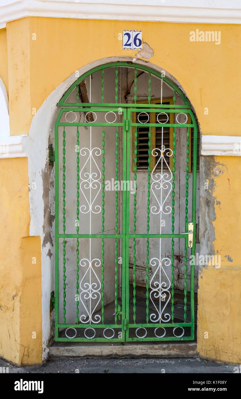 Willemstad, Curacao, Lesser Antilles.  Doorway, Sebastopol House, Otrobanda. - Stock Image