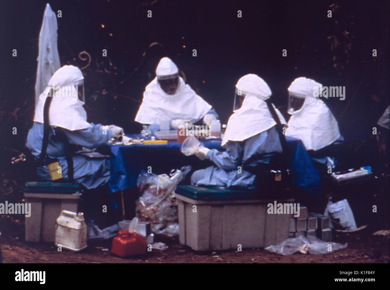 Ebola Testing. Image courtesy CDC. 1990. Stock Photo