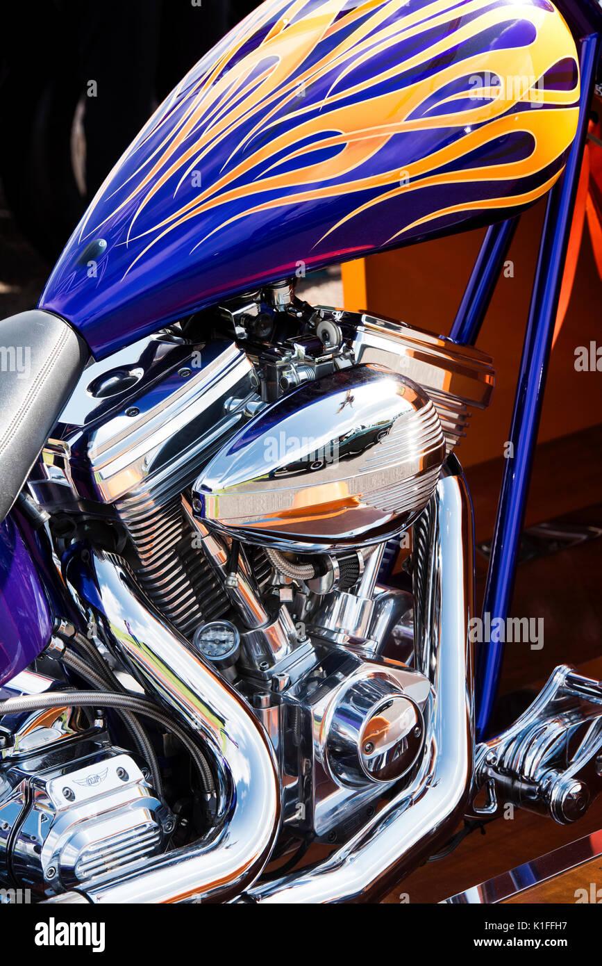 Custom chopper motorcycle engine. UK - Stock Image