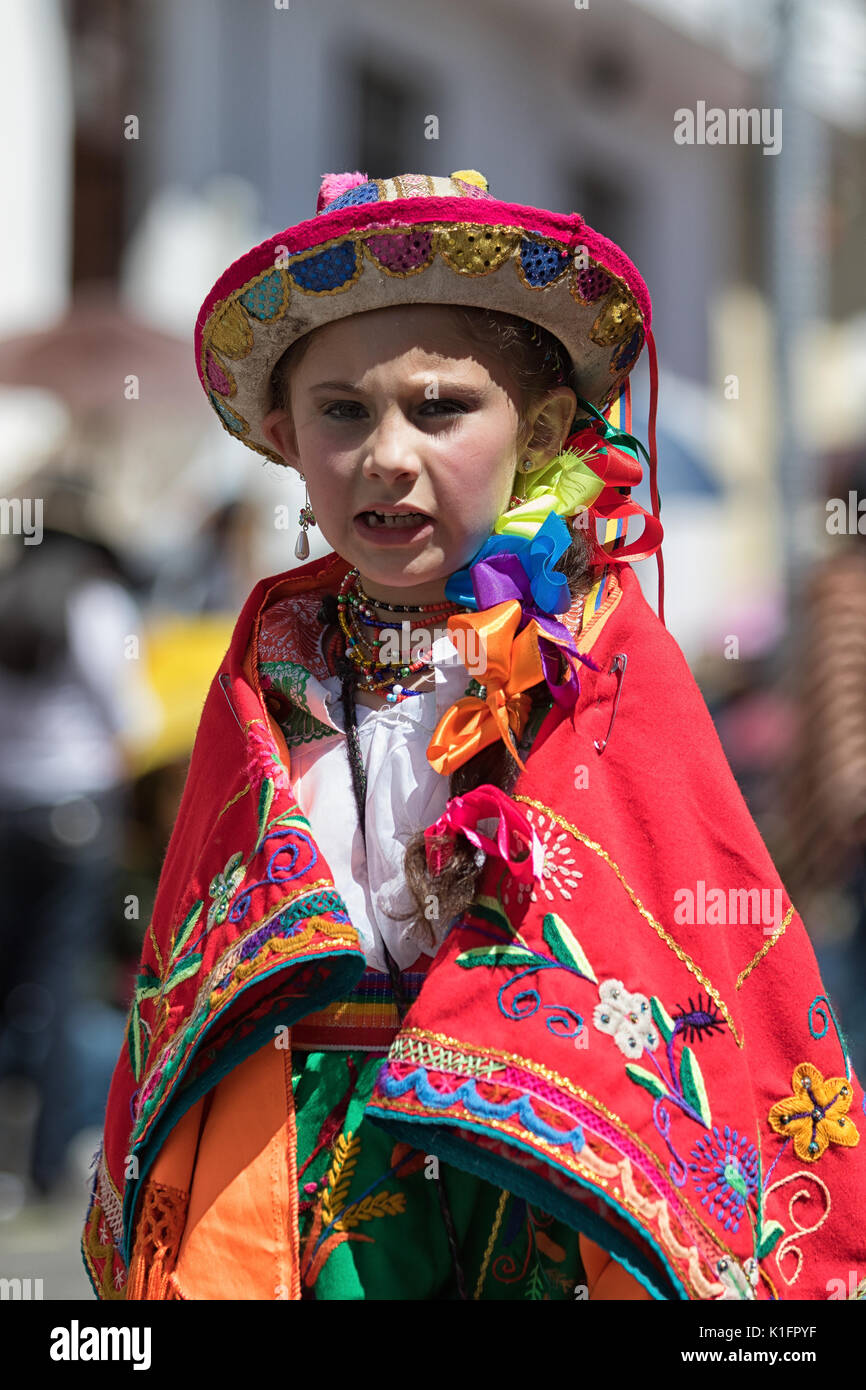 June 17, 2017 Pujili, Ecuador: indigenous kichwa girl in traditional clothing at the Corpus Christi parade - Stock Image