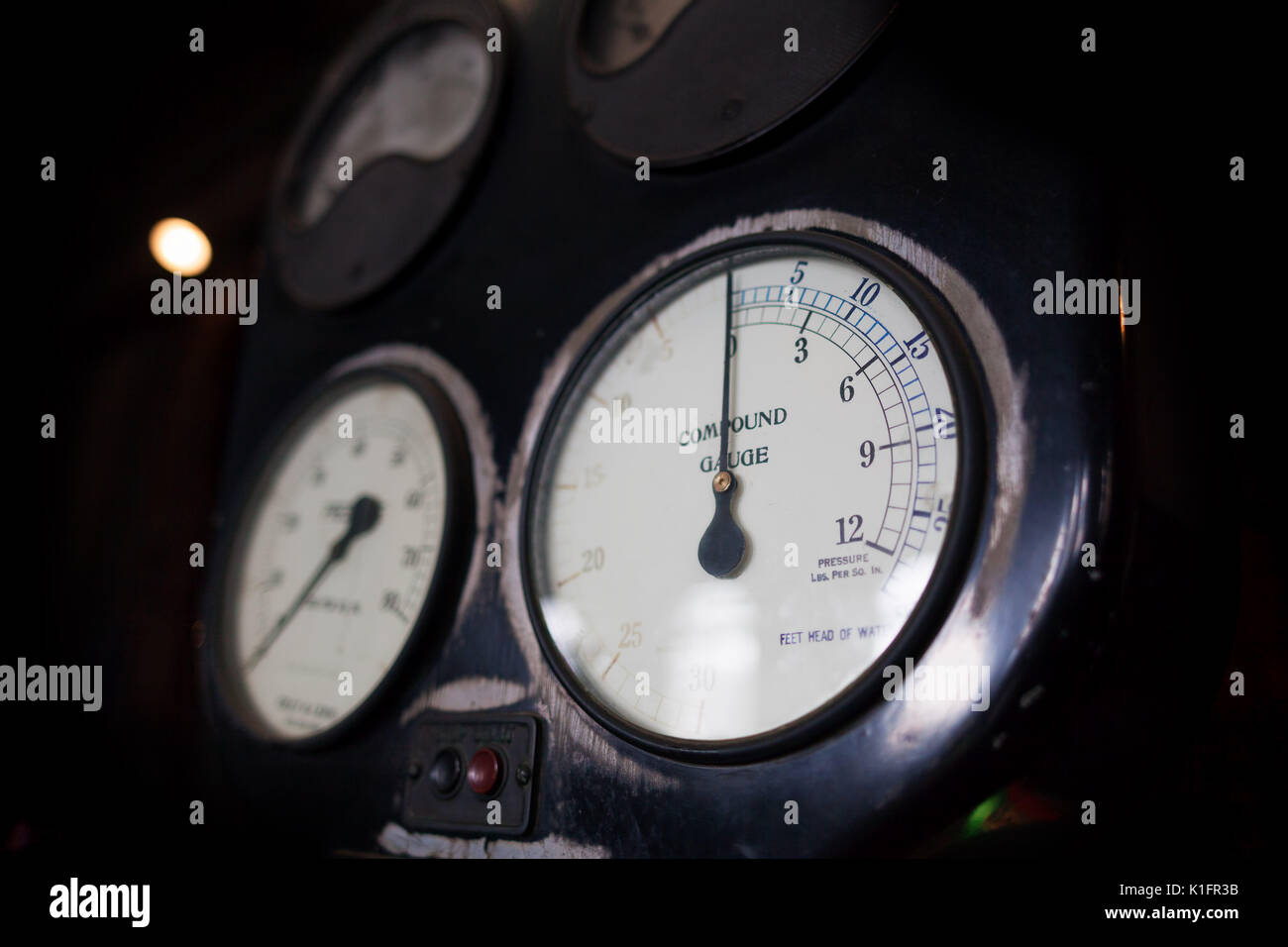 Vintage pressure gauges closeup - Stock Image