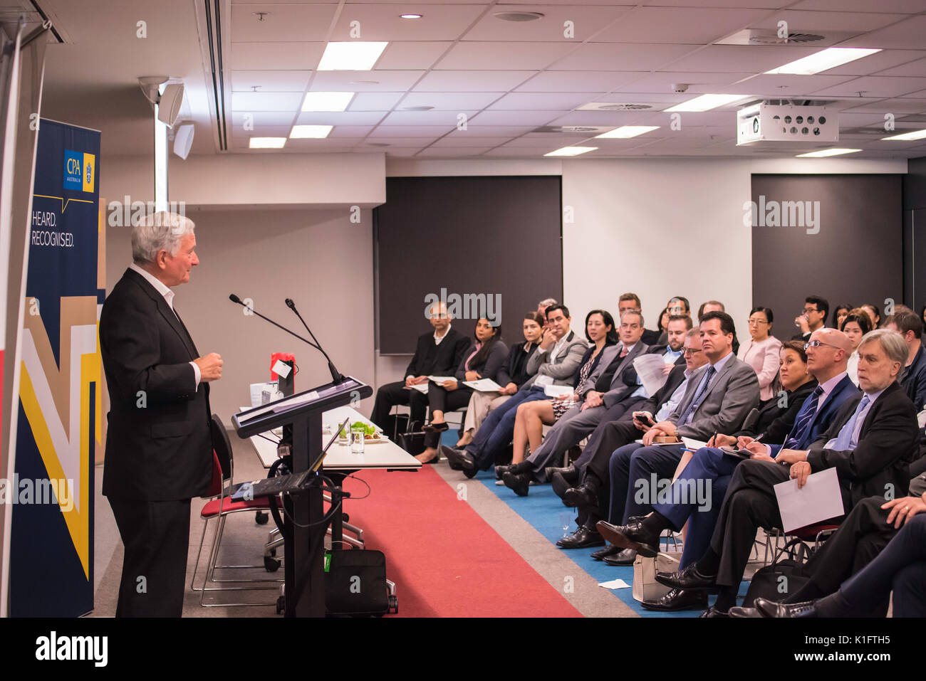 The Hon Nick Greiner AC speaking to the CPA Risk Discussion Group in Sydney, August 24th 2017 on the topic of  Risk to company boards beyond 2018 - Stock Image