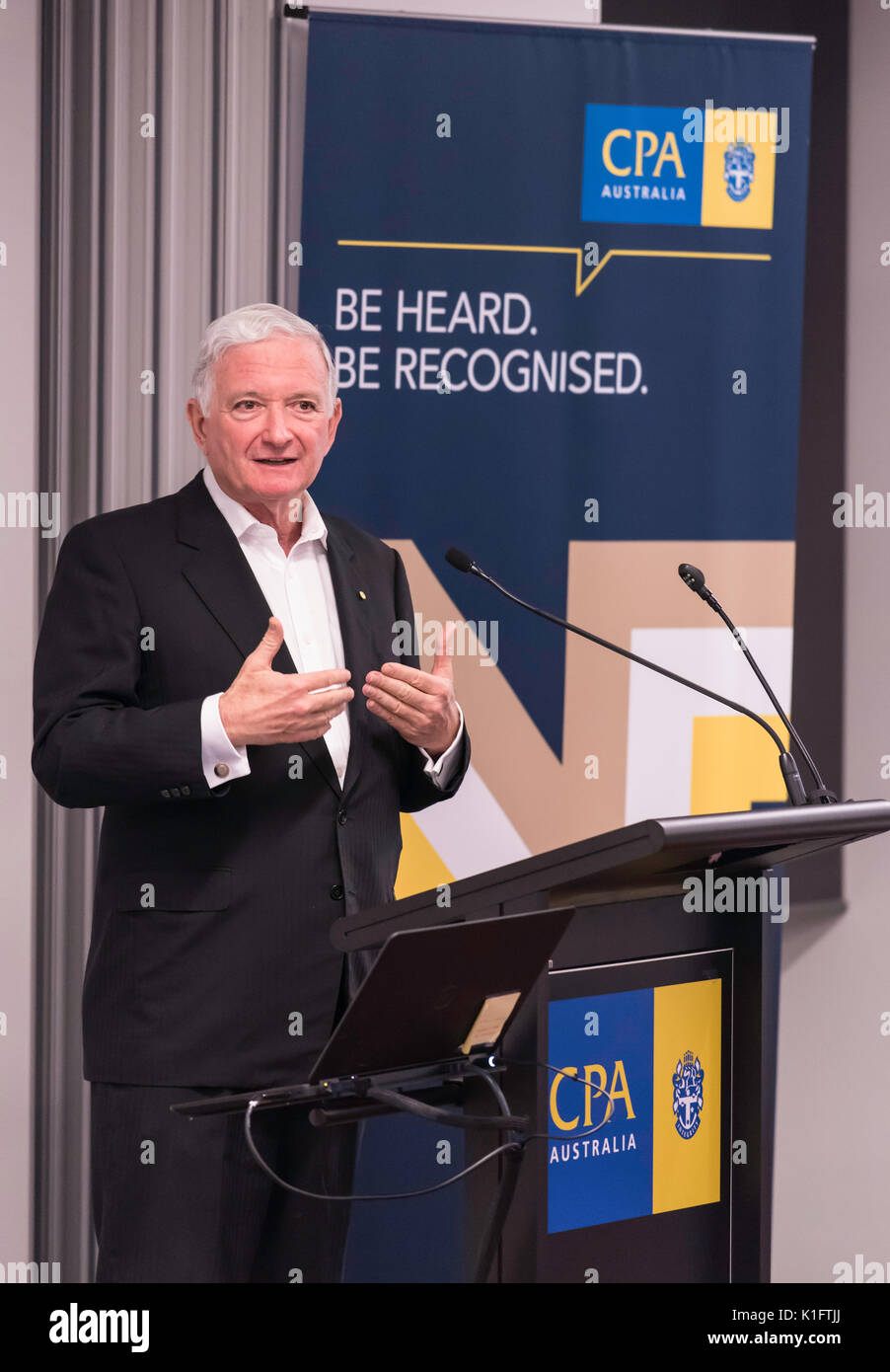 The Hon Nick Greiner AC speaking to the CPA Risk Discussion Group in Sydney, August 24th 2017 on the topic of  Risk Stock Photo