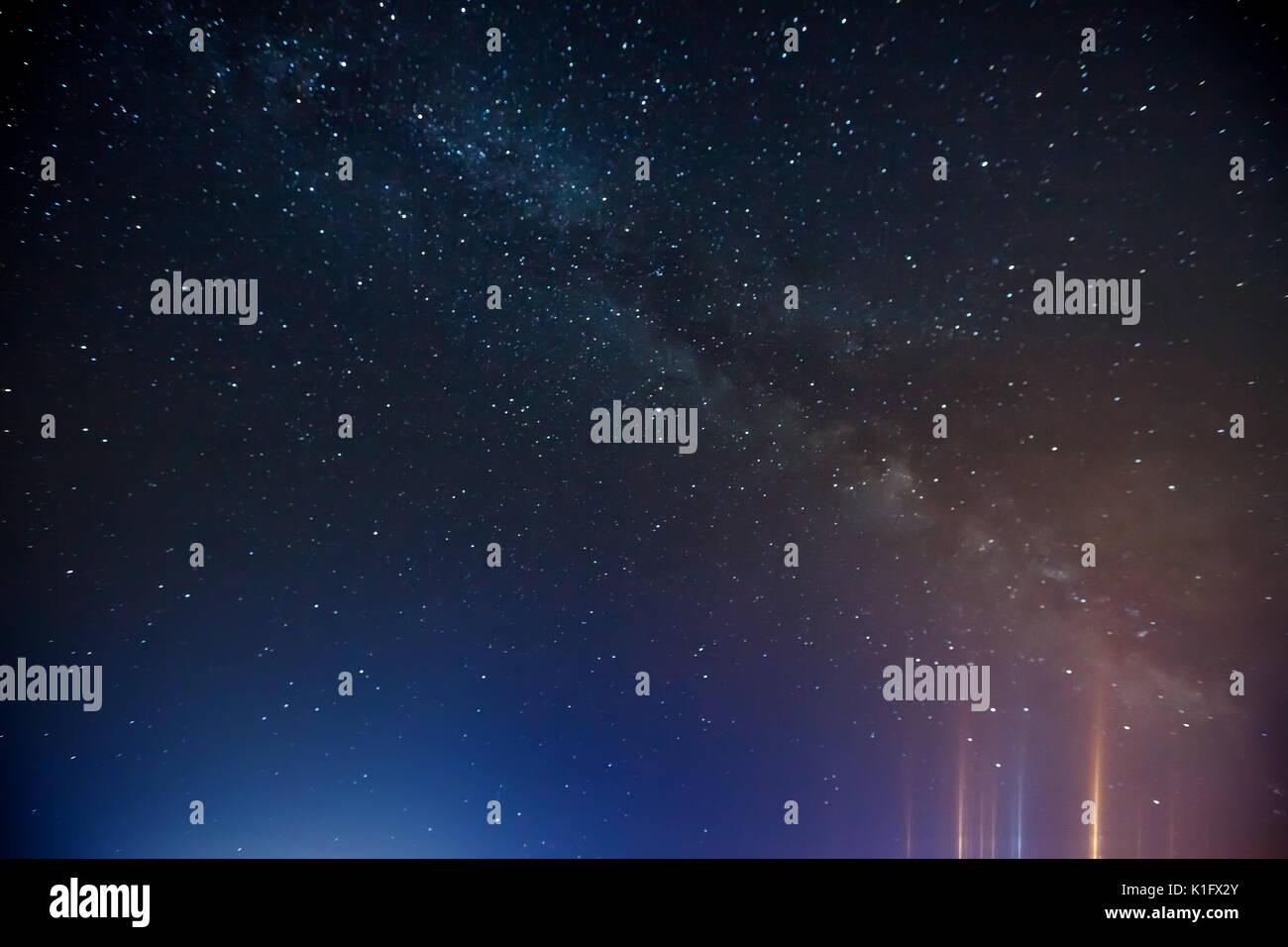 Night sky with lot of shiny stars, - Stock Image