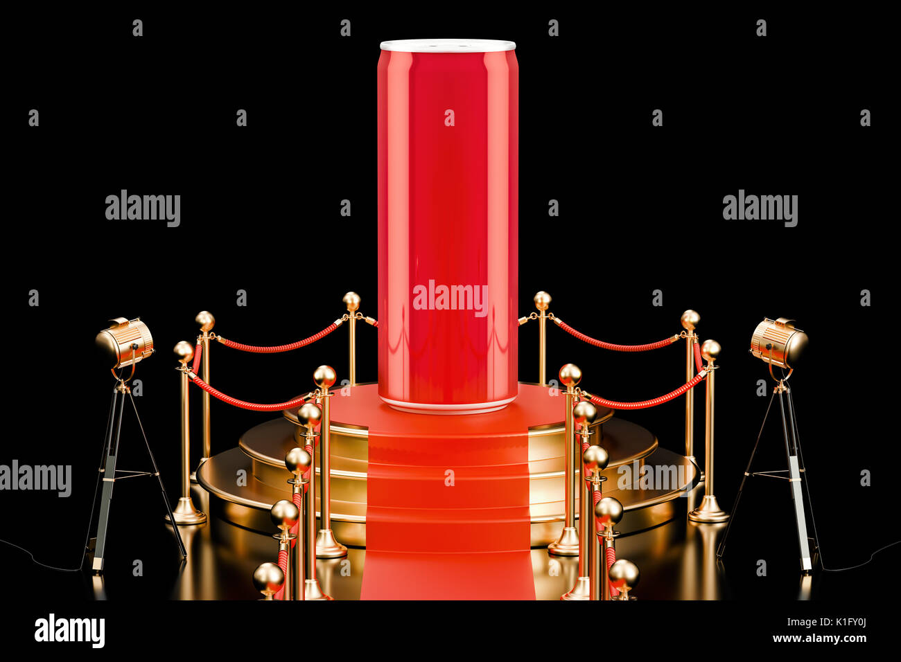 Podium with metallic drink can, presentation of new beverage concept. 3D rendering - Stock Image