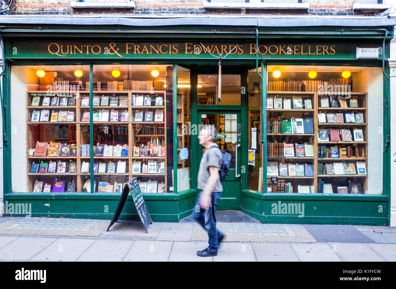 Quinto and Francis Edwards Booksellers - secondhand and antiquarian bookshop in Charing Cross Road Central London UK - Stock Image