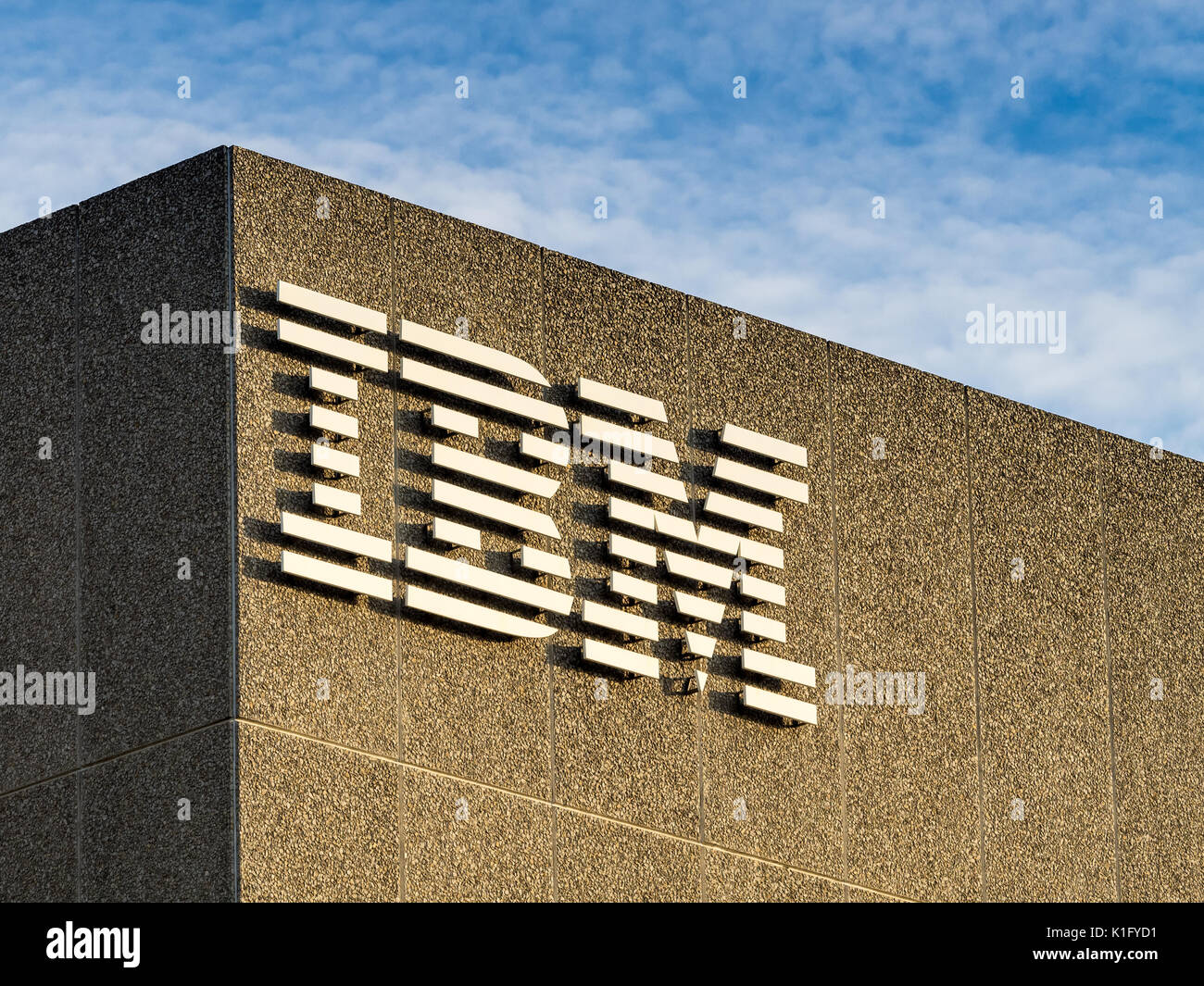 IBM Logo on the IBM Southbank building in London UK - Stock Image