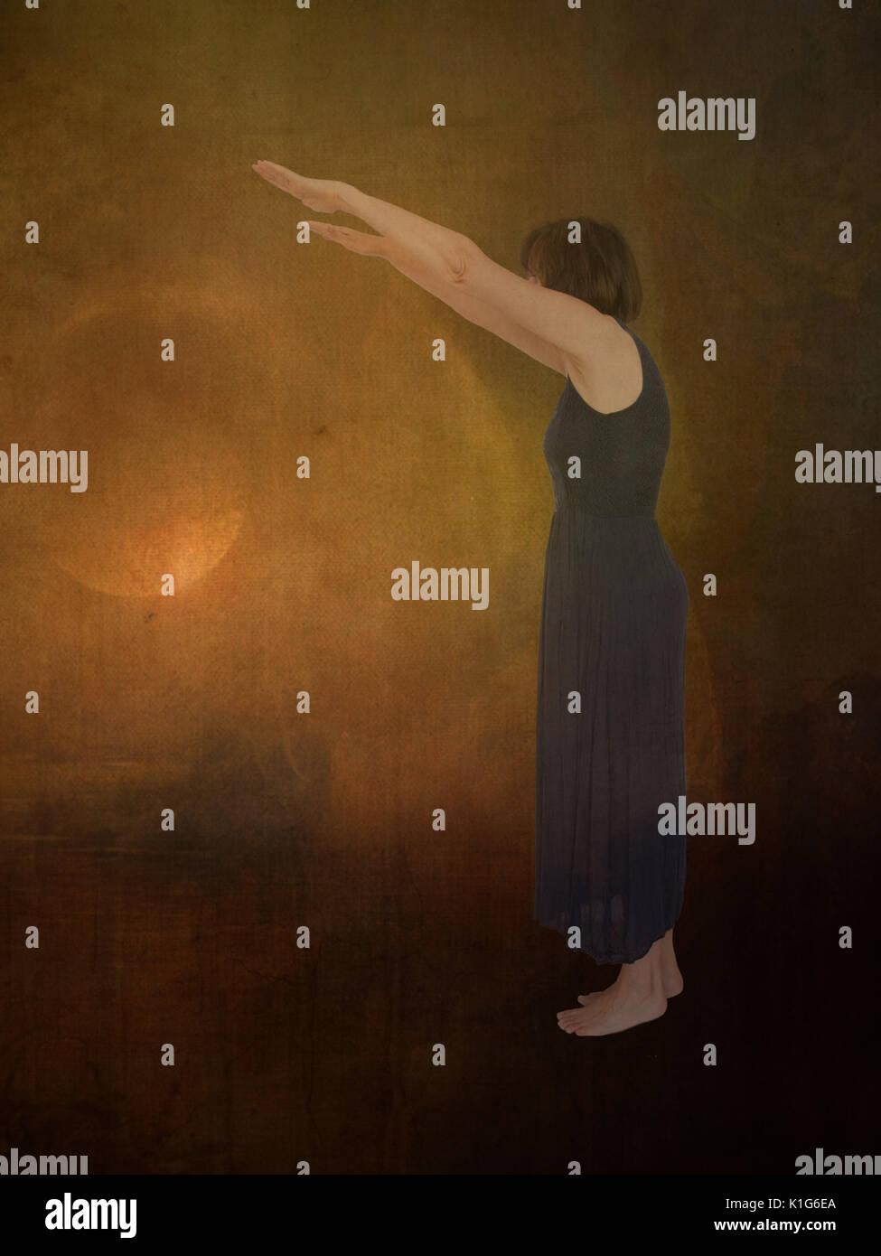 Sleepwalking, hypnotized or entranced. - Stock Image