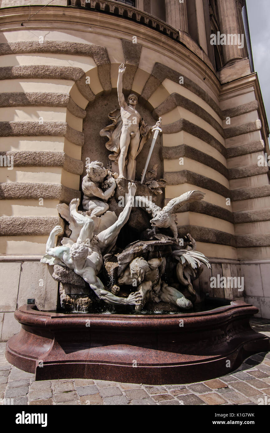 A sculpture describing feats of Heracles, Hofburg Palace, Vienna - Stock Image