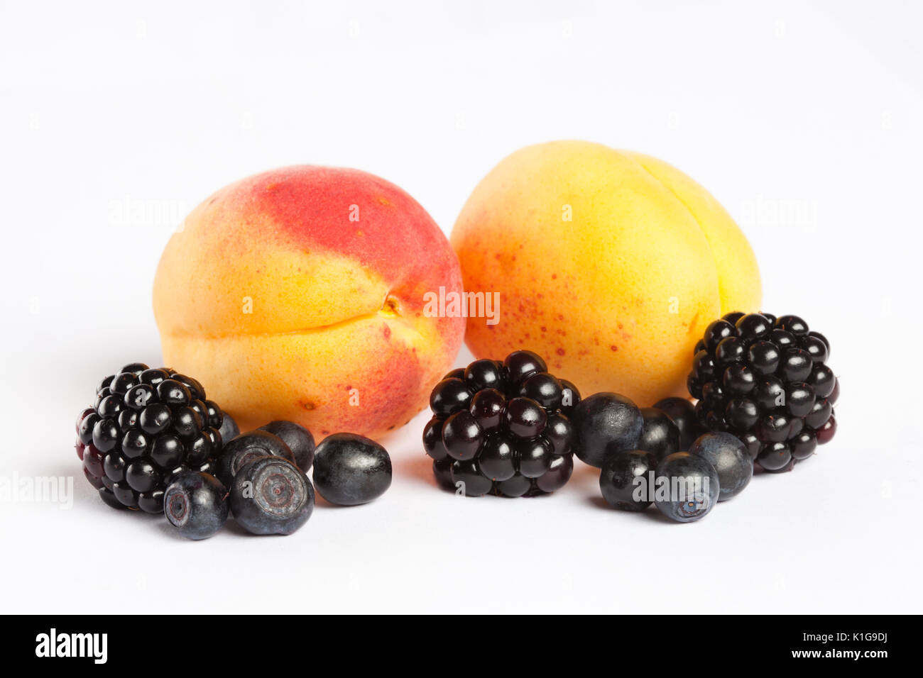 Blueberry, apricot and blackberry - Stock Image