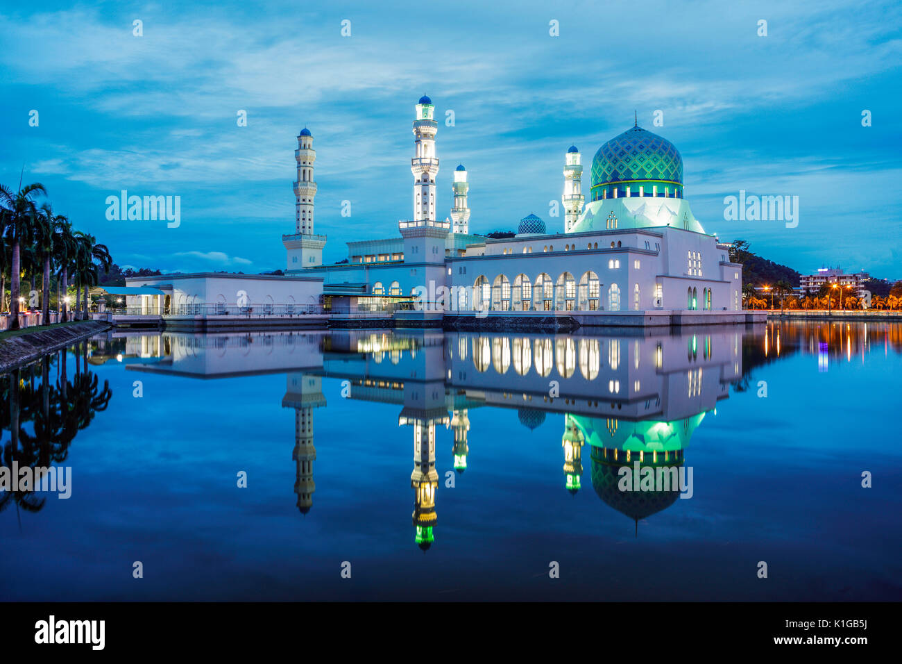 The Kota Kinabalu State Mosque during twilight. - Stock Image