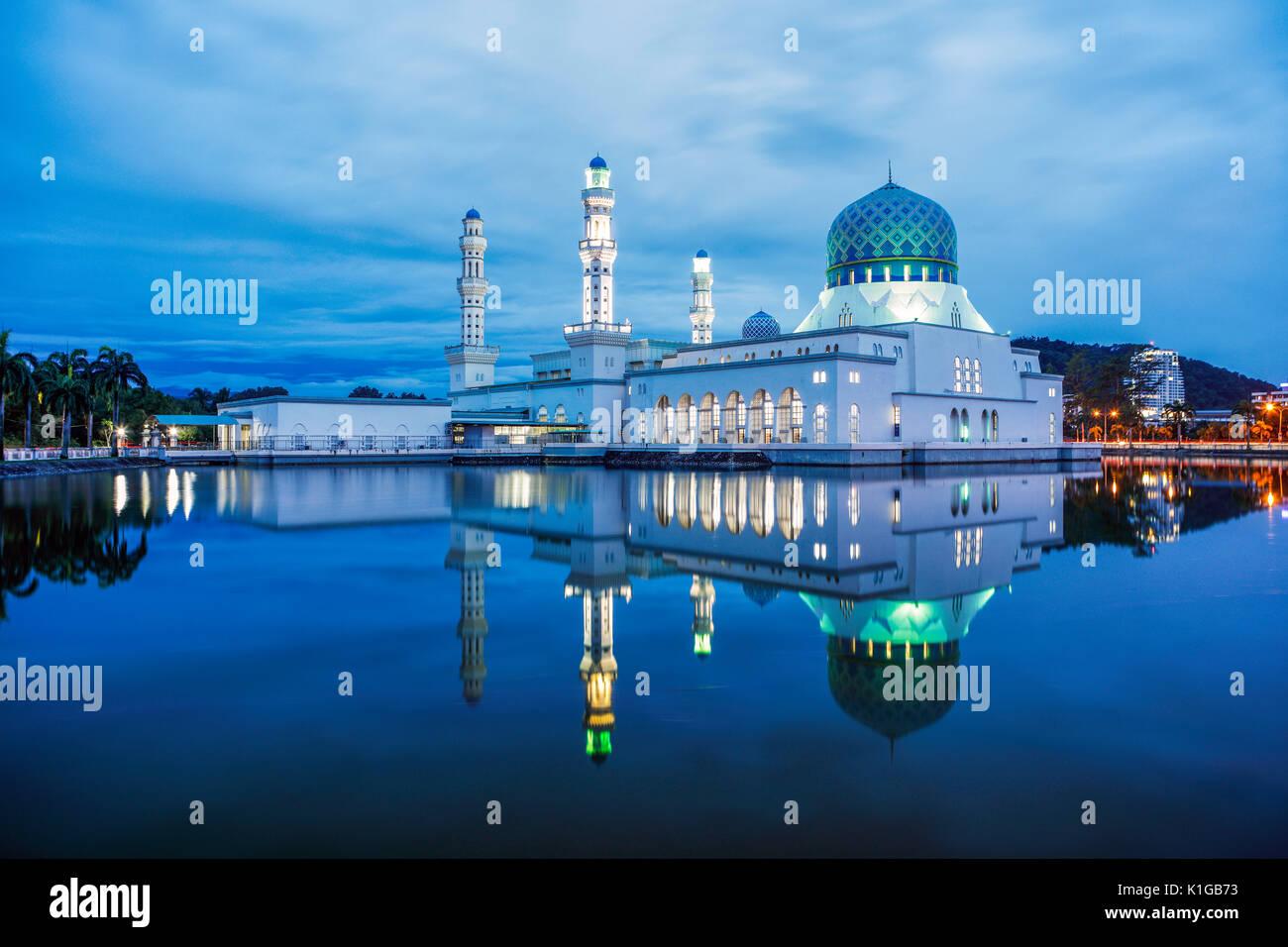 The Kota Kinabalu State Mosque during twilight. - Stock Image