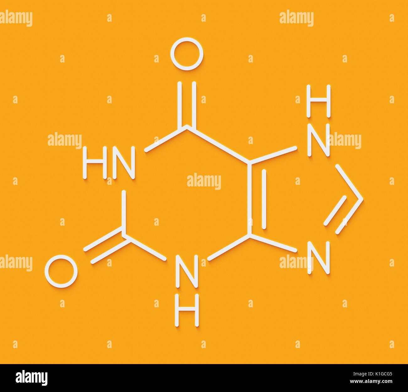 Xanthine purine base molecule. Skeletal formula. - Stock Image