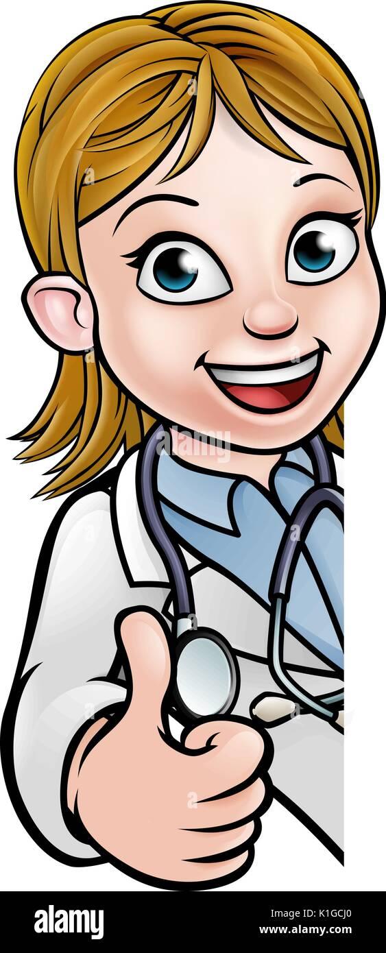 Doctor Thumbs Up Cartoon Character Sign - Stock Vector
