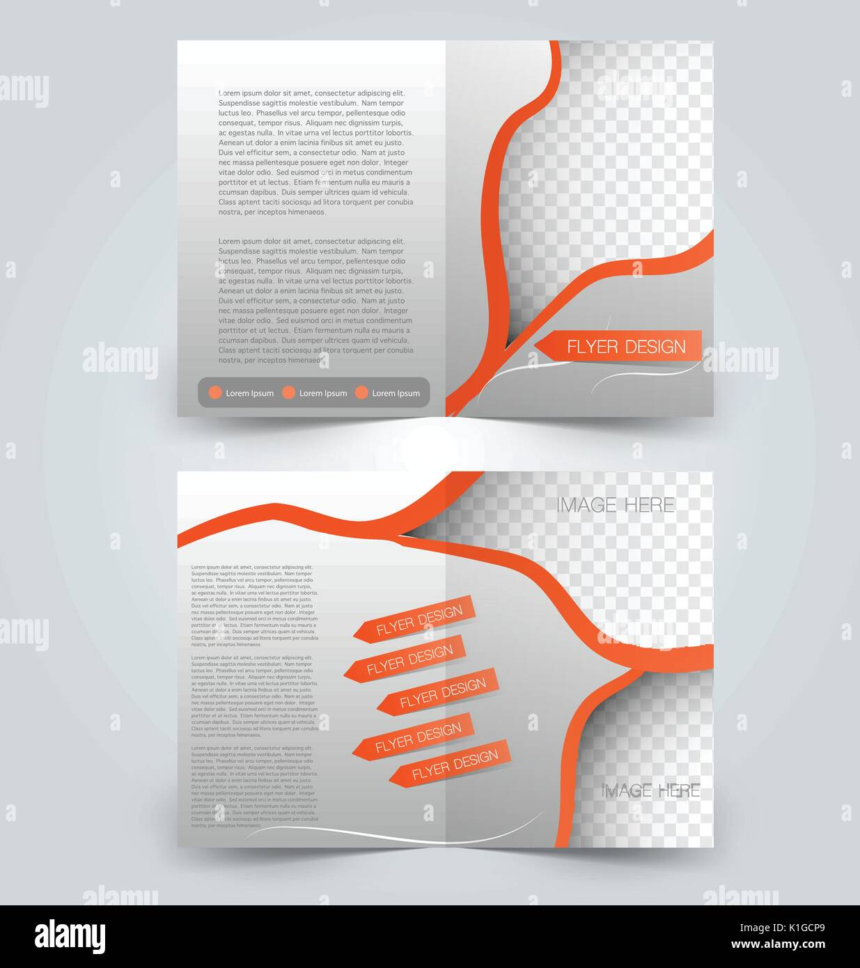brochure template design two page mock up flyer orange color