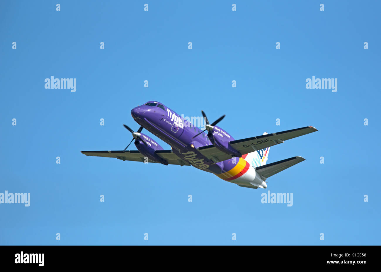 Saab 340B IN FlyBe livery departing Inverness in the Scottish Highlands for Stornaway in the outer Hebrides. Stock Photo