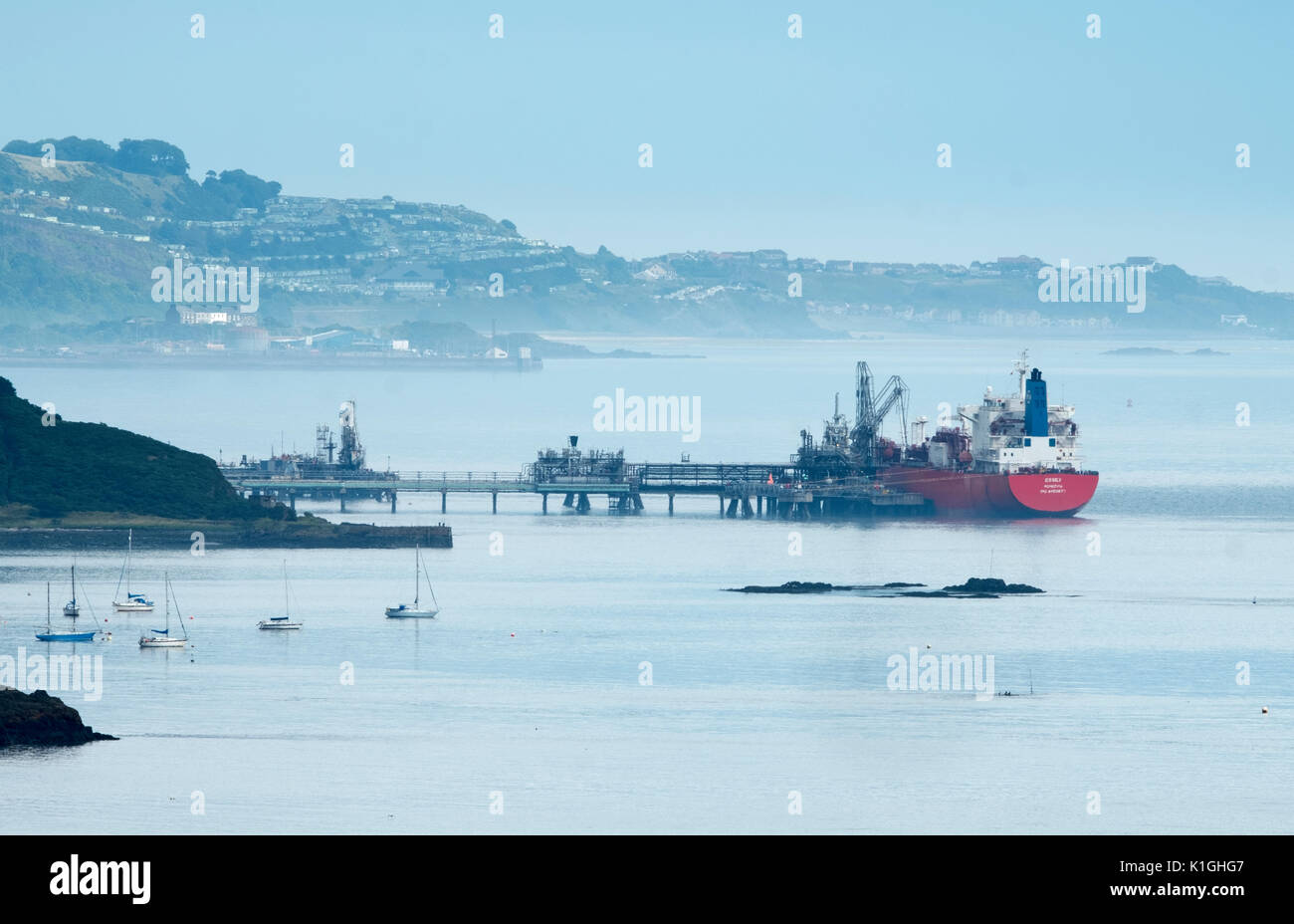 The Liberian registered LPG tanker Essex moored at Braefoot Bay Marine Terminal, Firth of Forth, Scotland. - Stock Image
