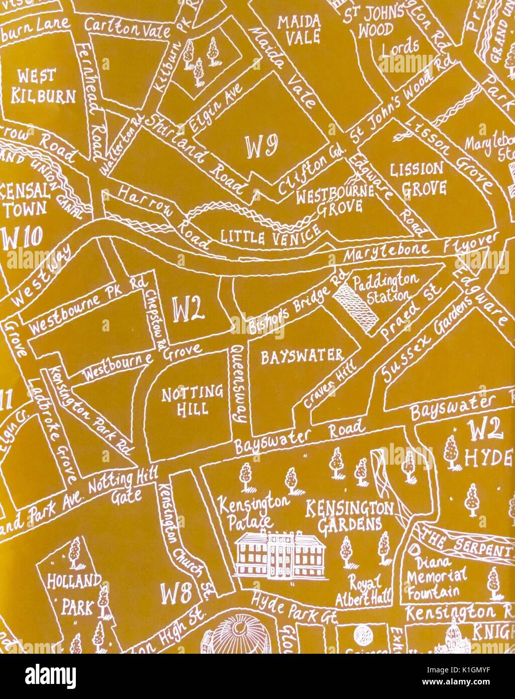 London Map With Sights.Yellow Hand Drawn Map Of Part Of Central London With Pictures Of