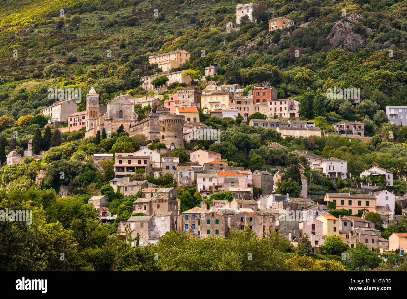 Hill town of Bettolacce, in commune of Rogliano, Cap Corse, Corsica, France - Stock Image