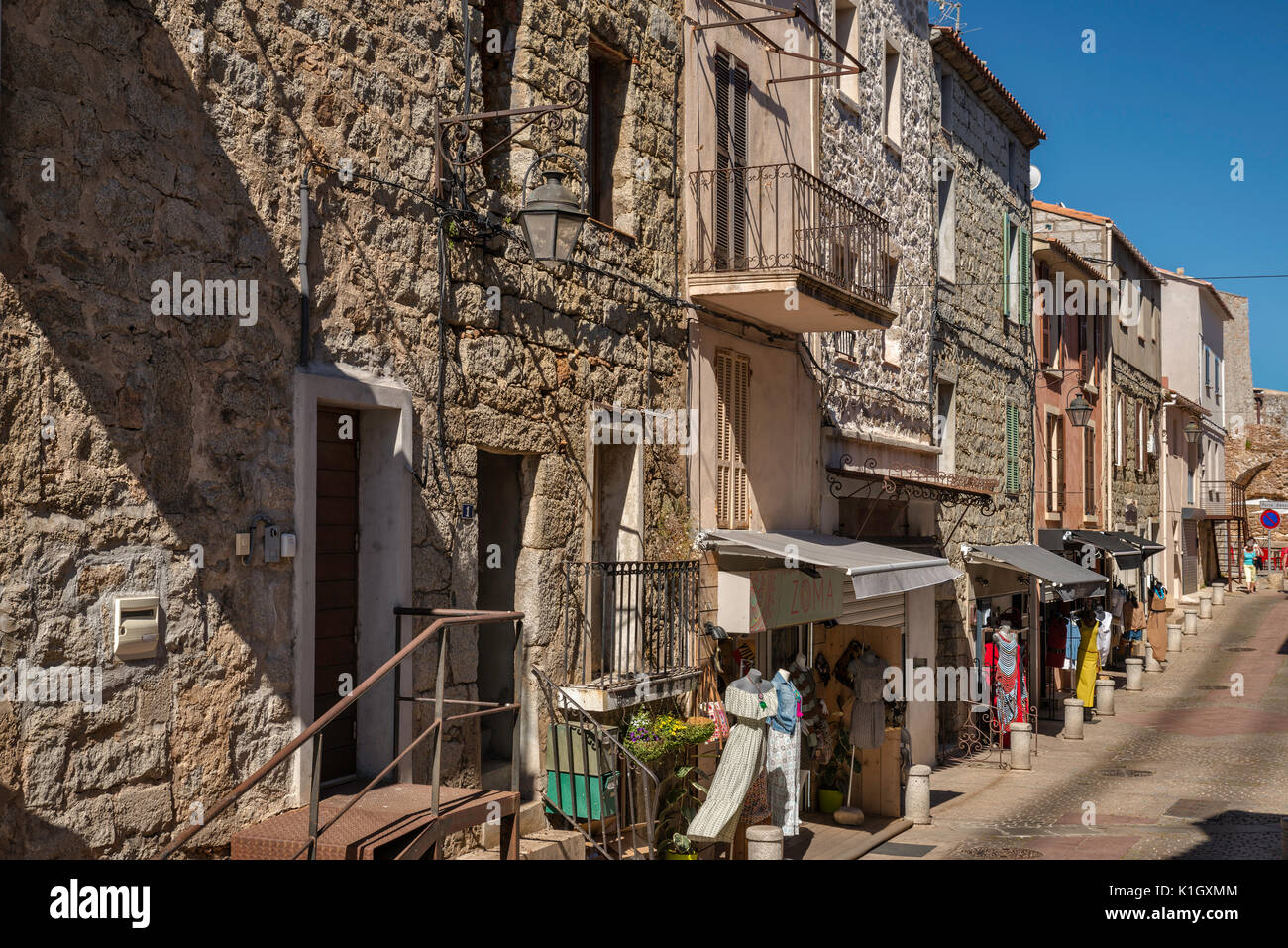 Rue de la Citadelle, old town hilltop section of Porto-Vecchio, Corsica, France - Stock Image