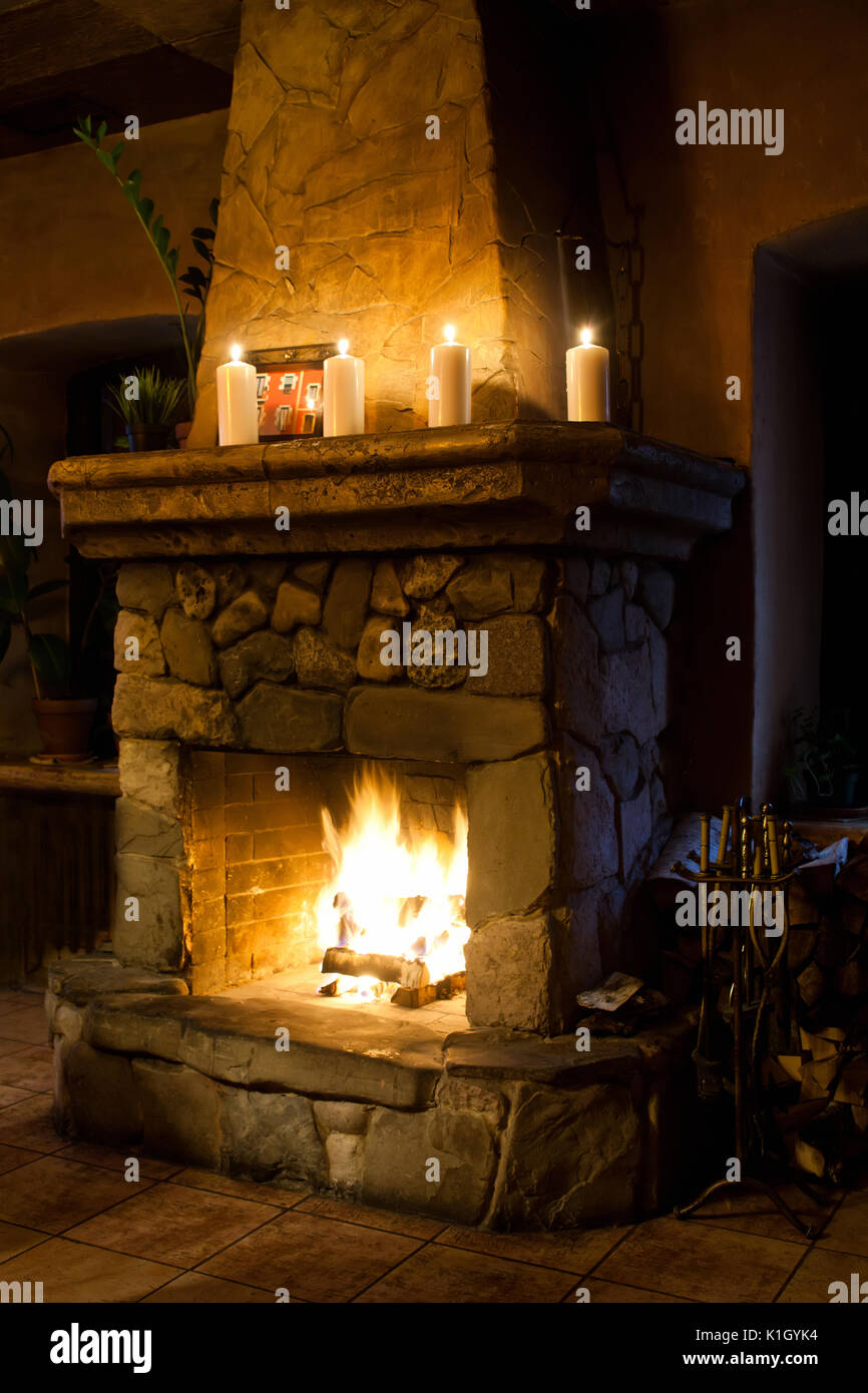 Fireplace Room Chimney Candles And Woodpile Classic Interior