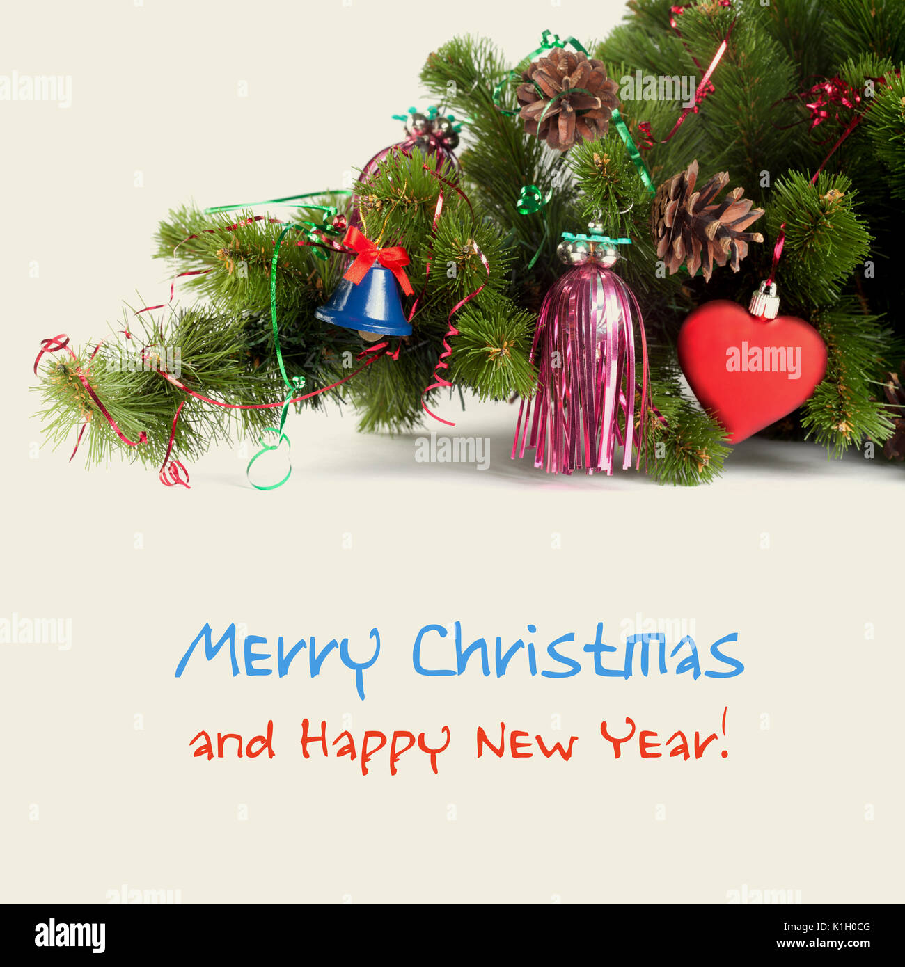 Bright composition with christmas tree, red toy heart and