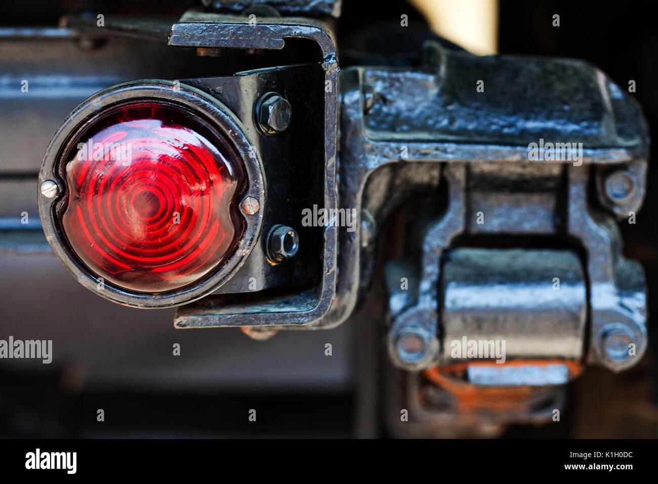 Stoplight retro truck. Taillight car (soft focus). Closeup. - Stock Image