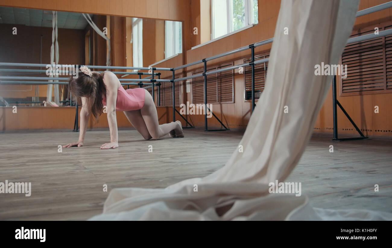 Model girl ballerina practicing in the Studio - Stock Image