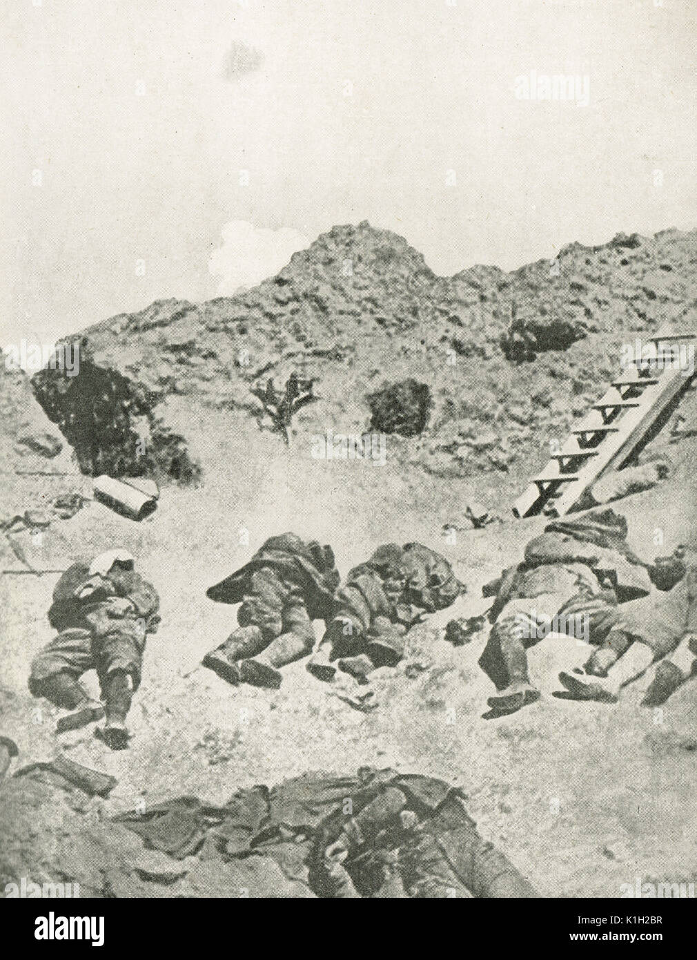 German troops killed by French 75 guns, WW1 - Stock Image