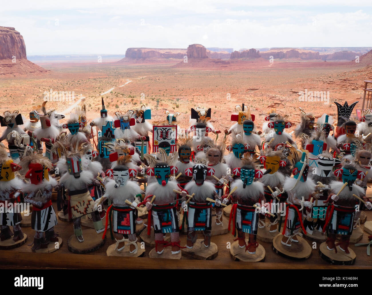Monument Valley, USA - 25 July 2016: Traditional hand crafted Native American figures displayed for sale at a souvenir shop at Monument Valley Navajo  - Stock Image
