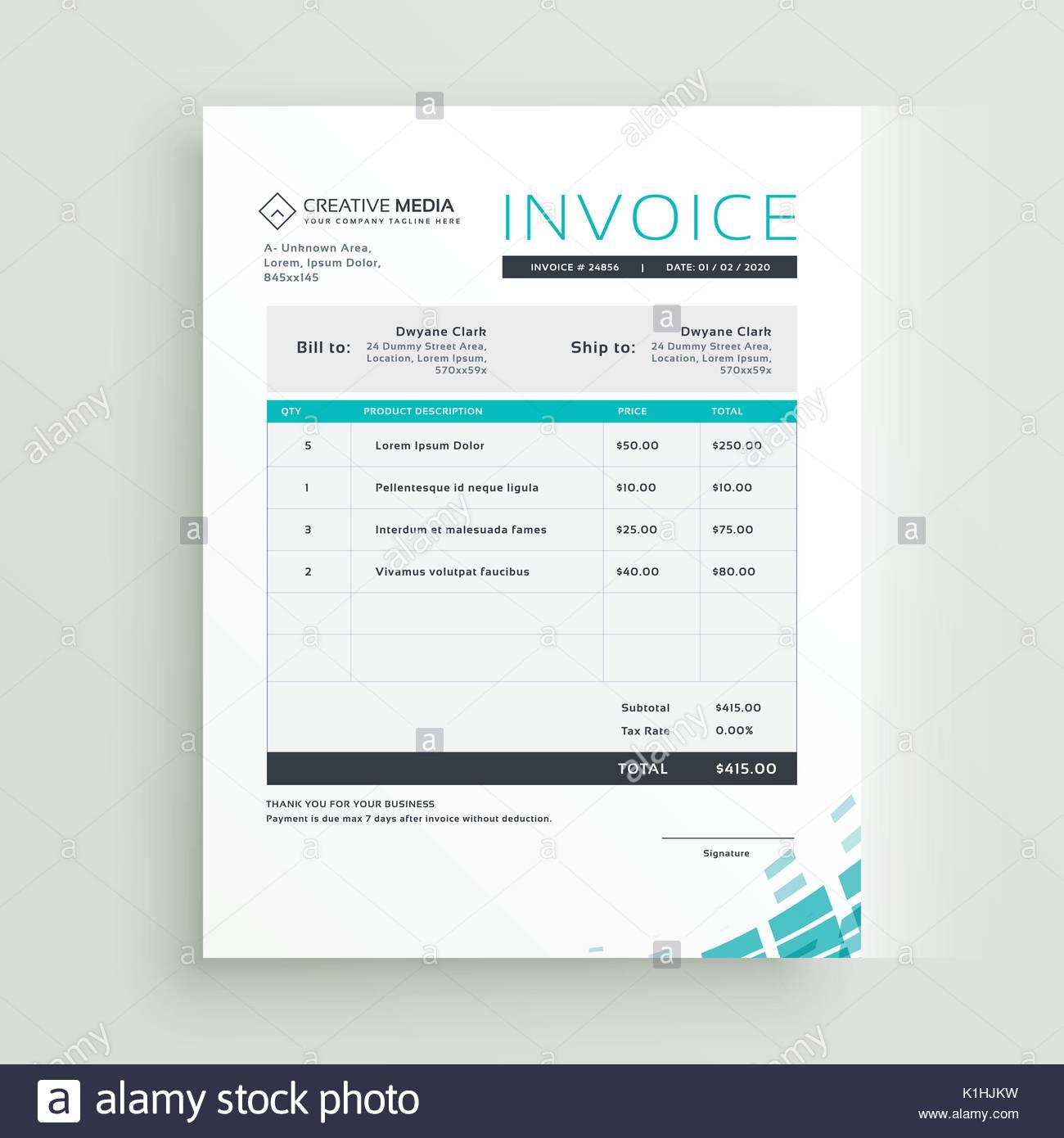 modern invoice template vector design Stock Vector Art ...